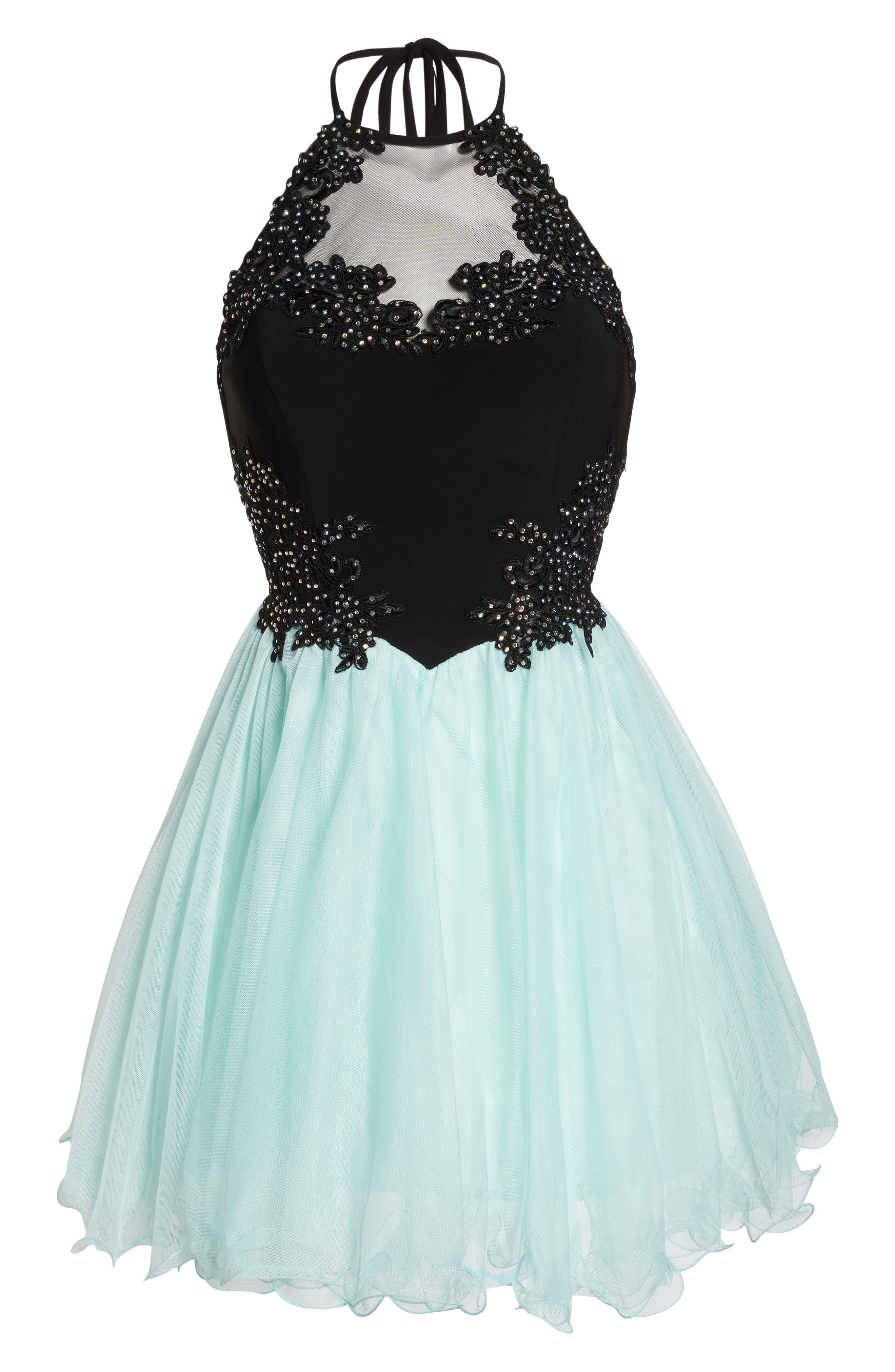 Appliqué Mesh Fit & Flare Halter Dress,                             Alternate thumbnail 6, color,                             Black/ Mint