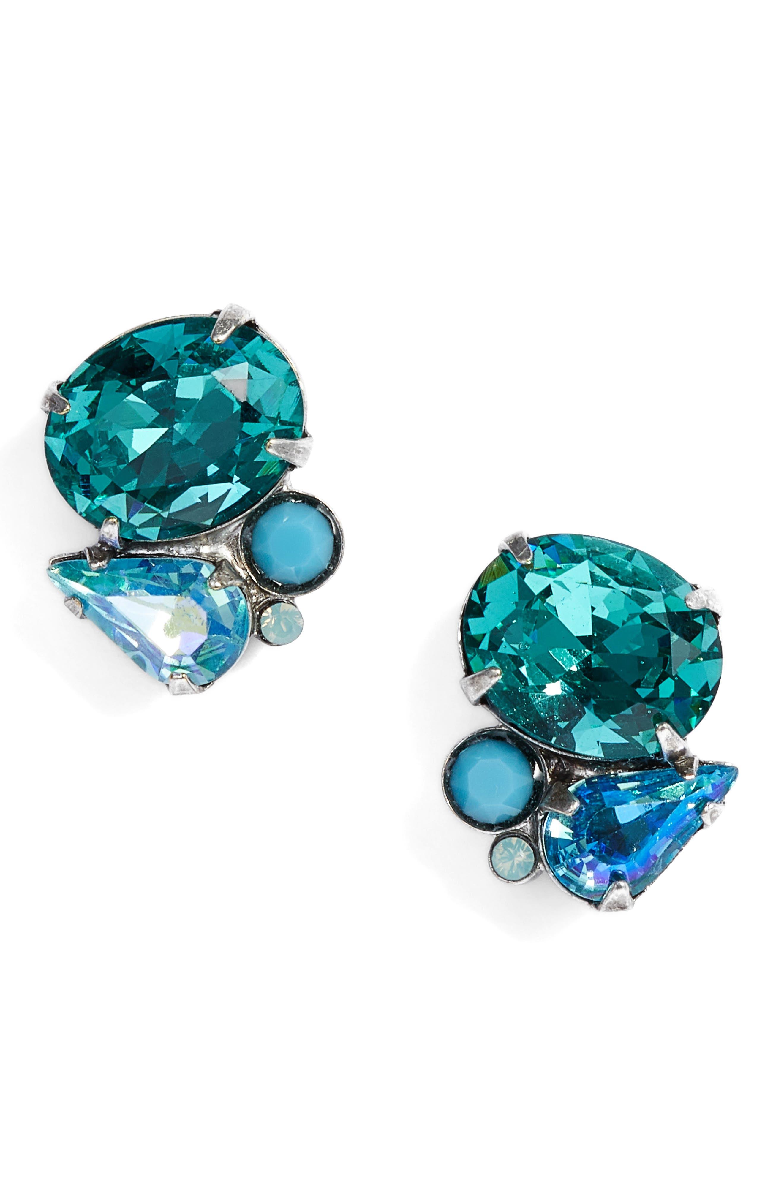 Mayflower Crystal Earrings,                         Main,                         color, Blue-Green