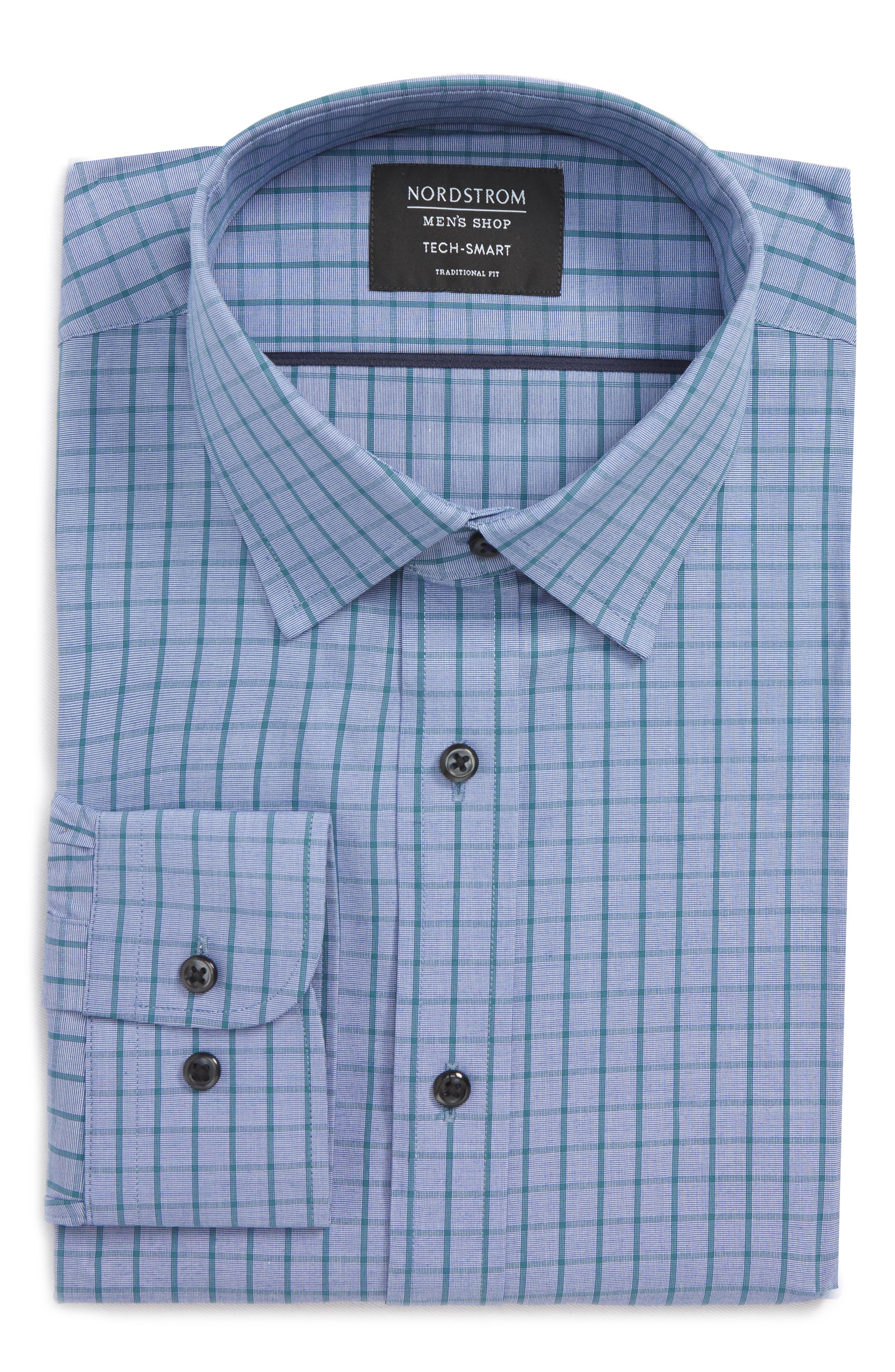 Tech-Smart Traditional Fit Stretch Check Dress Shirt,                             Alternate thumbnail 6, color,                             Teal Hydro