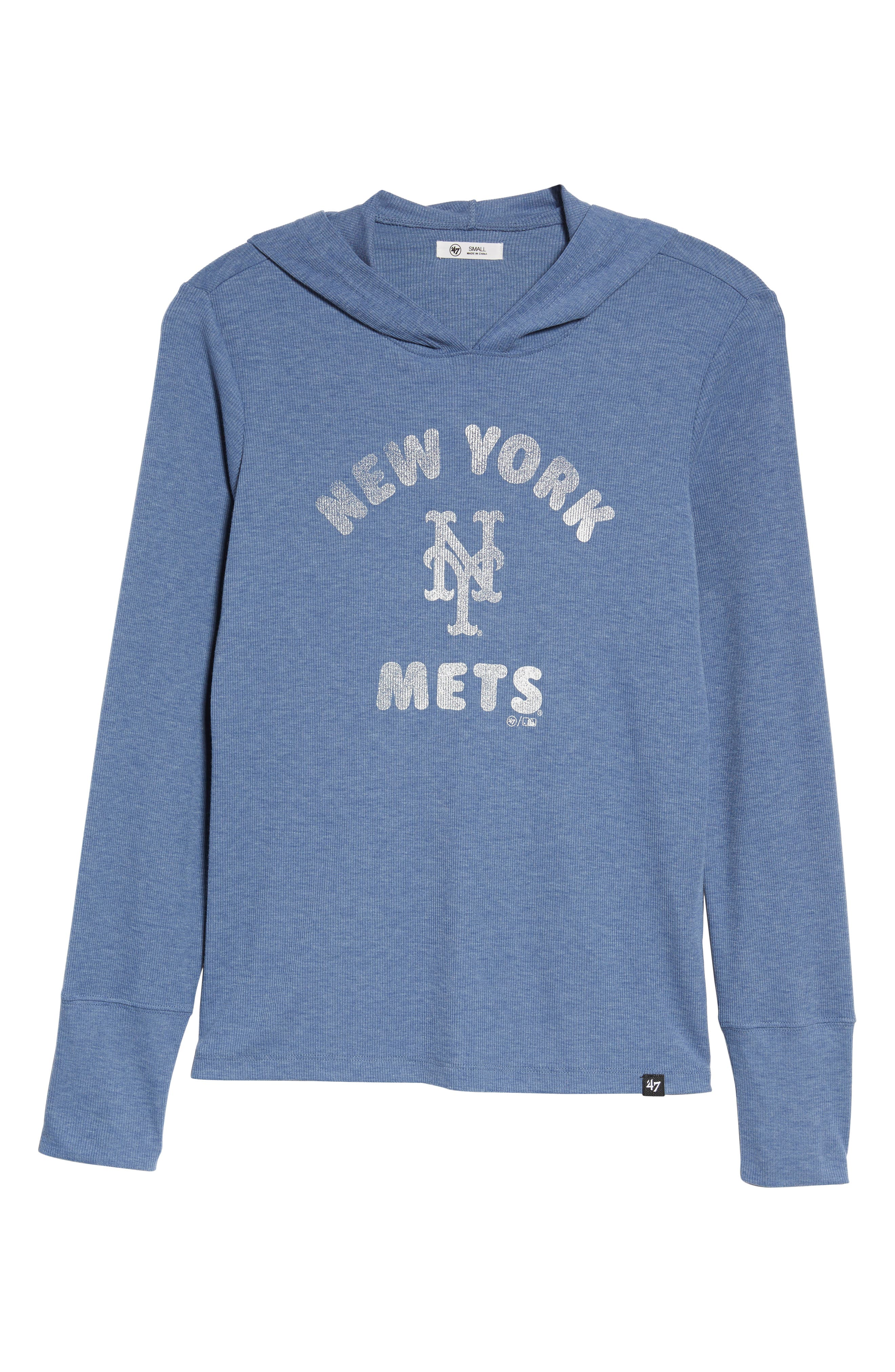Campbell New York Mets Rib Knit Hoodie,                             Alternate thumbnail 6, color,                             Bleacher Blue