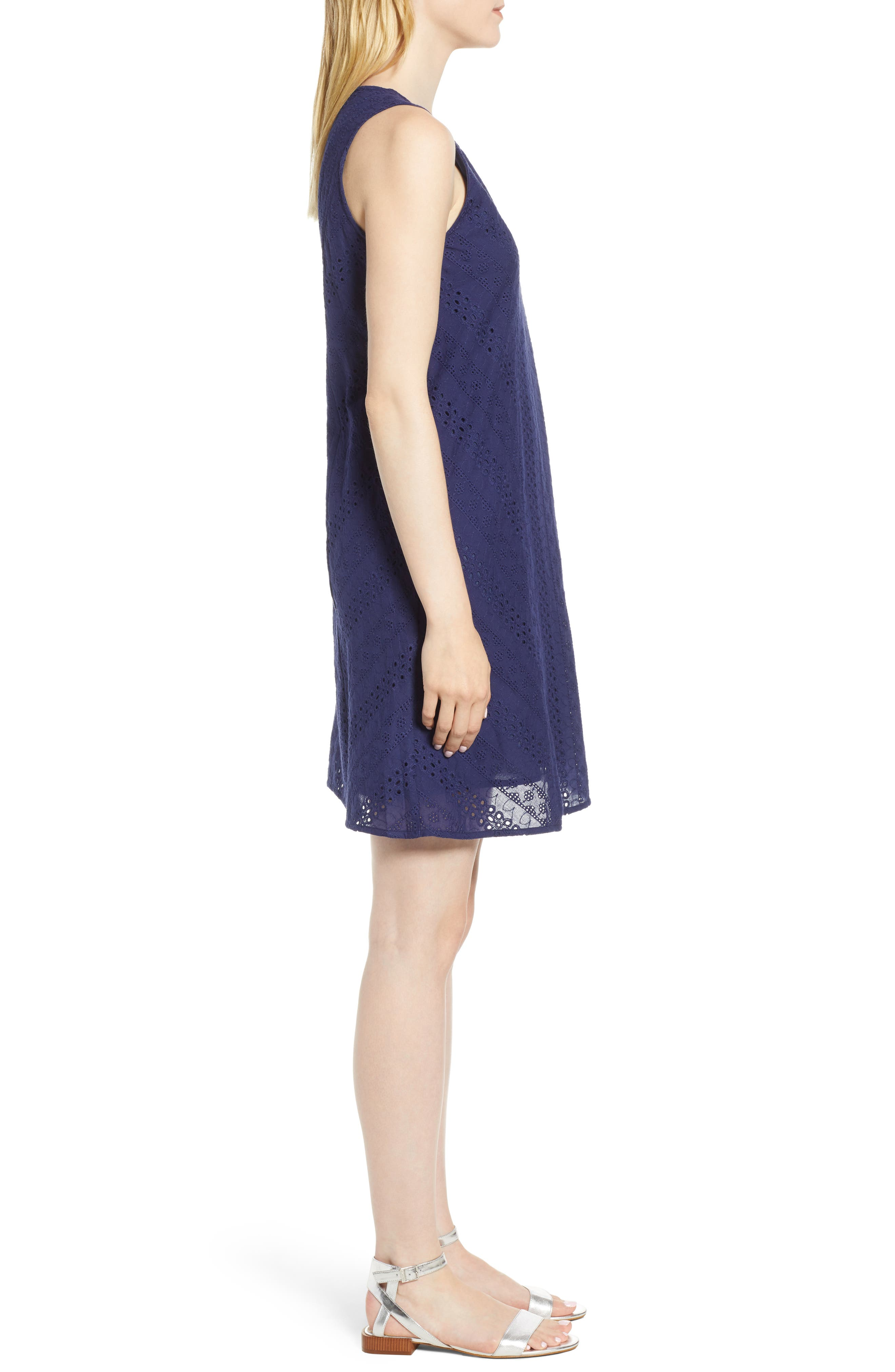 Eyelet Shift Dress,                             Alternate thumbnail 3, color,                             Navy