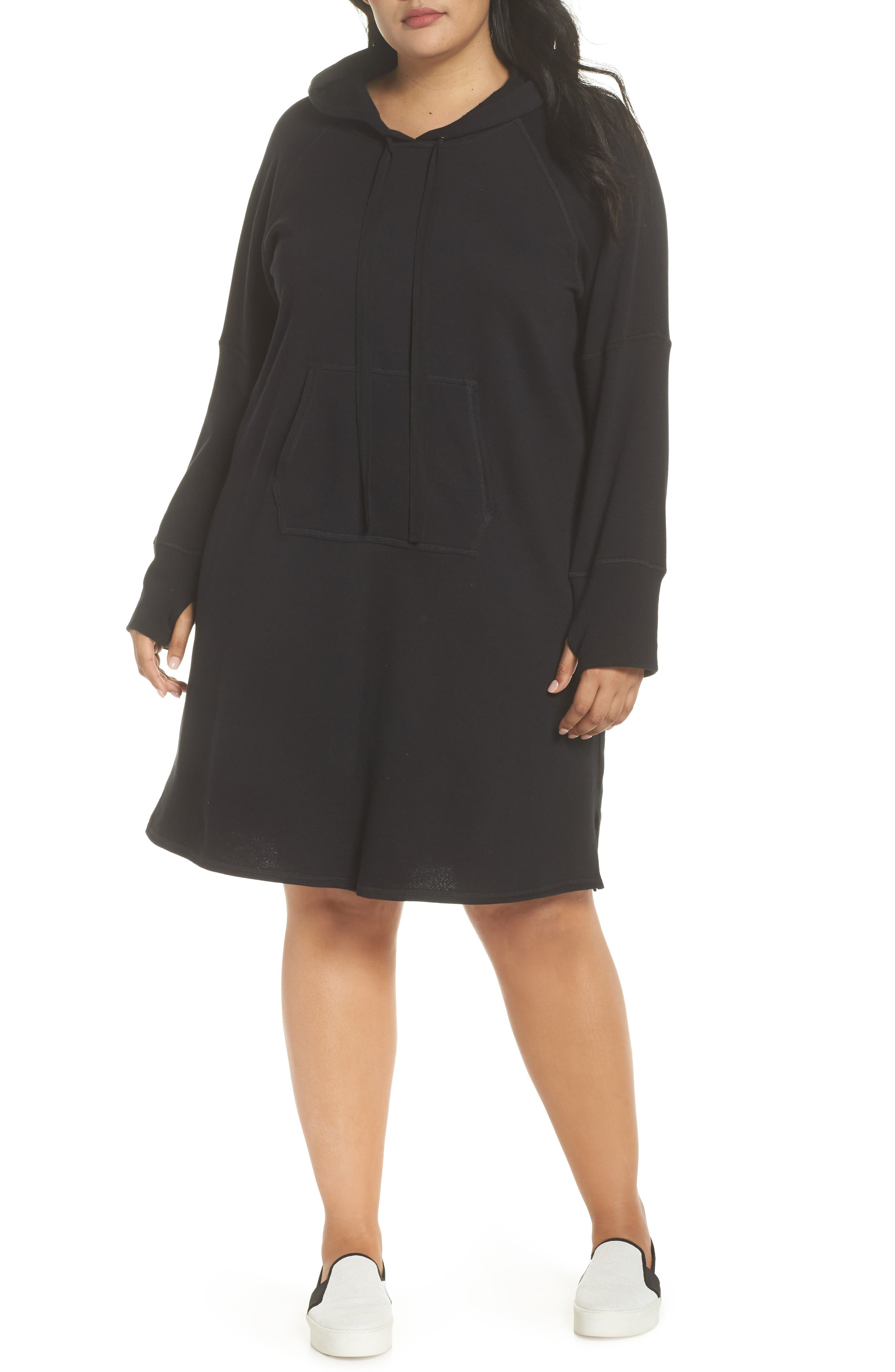 Hooded French Terry Dress,                             Main thumbnail 1, color,                             Black