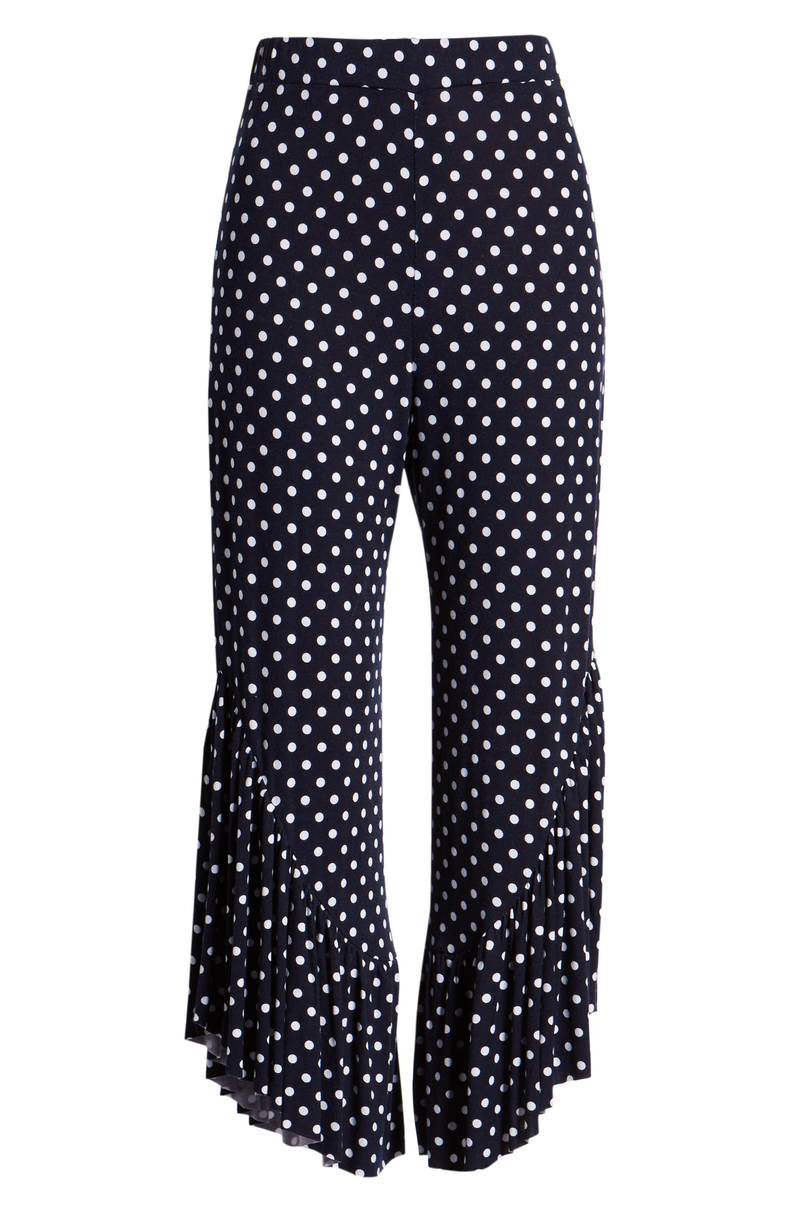Ruffle Hem Wide Leg Crop Pants,                             Alternate thumbnail 7, color,                             Navy/ White Polka Dot
