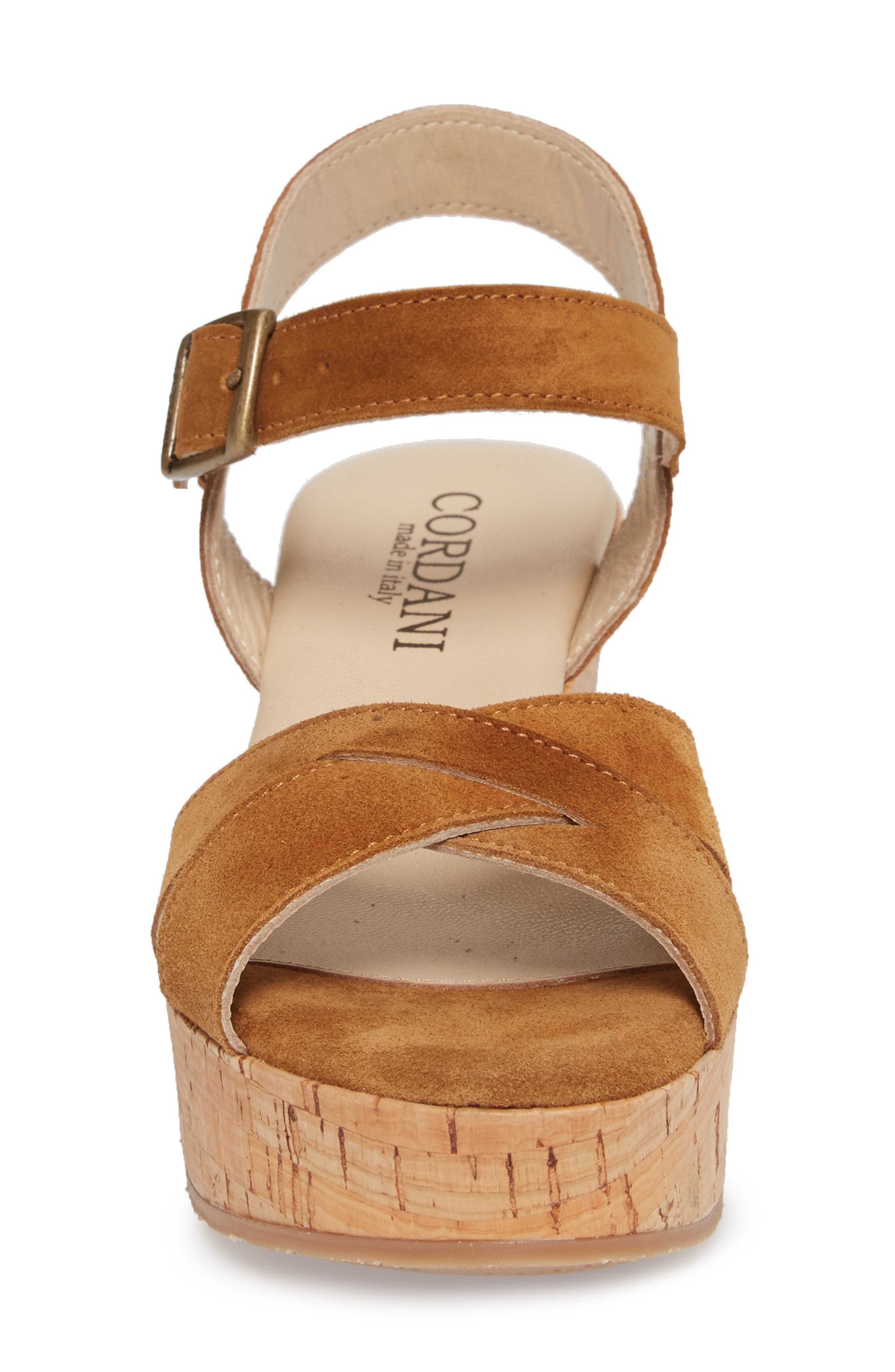 Candy Wedge Sandal,                             Alternate thumbnail 4, color,                             Cola Suede