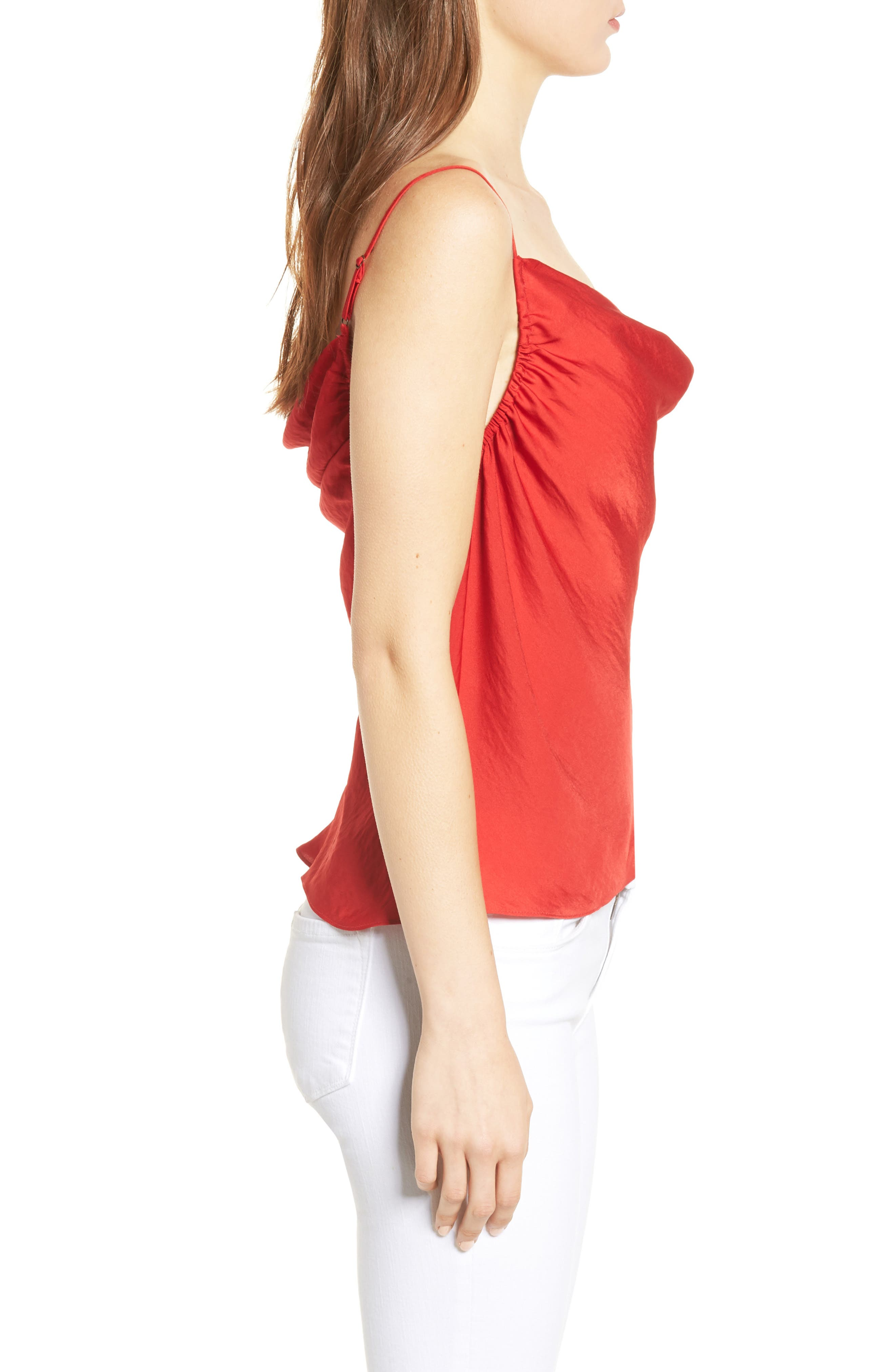 Cowl Neck Camisole,                             Alternate thumbnail 3, color,                             True Red