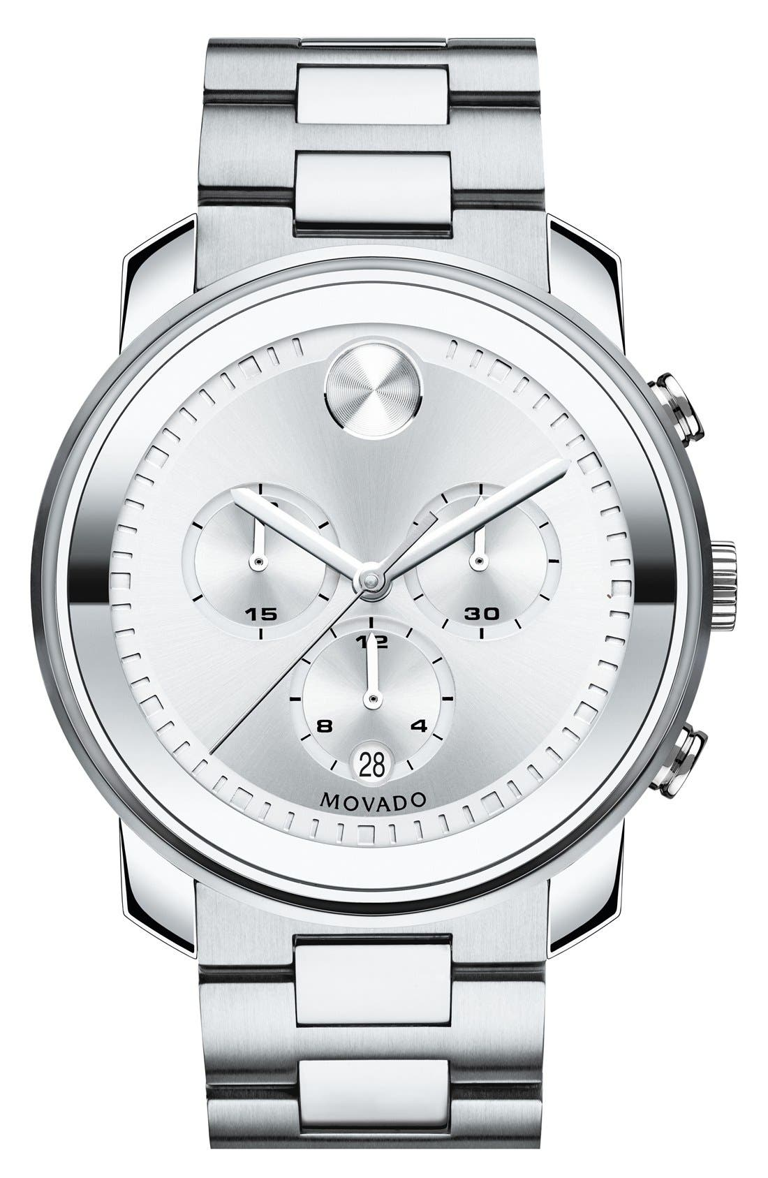 Bold Chronograph Bracelet Watch, 44mm,                         Main,                         color, Silver