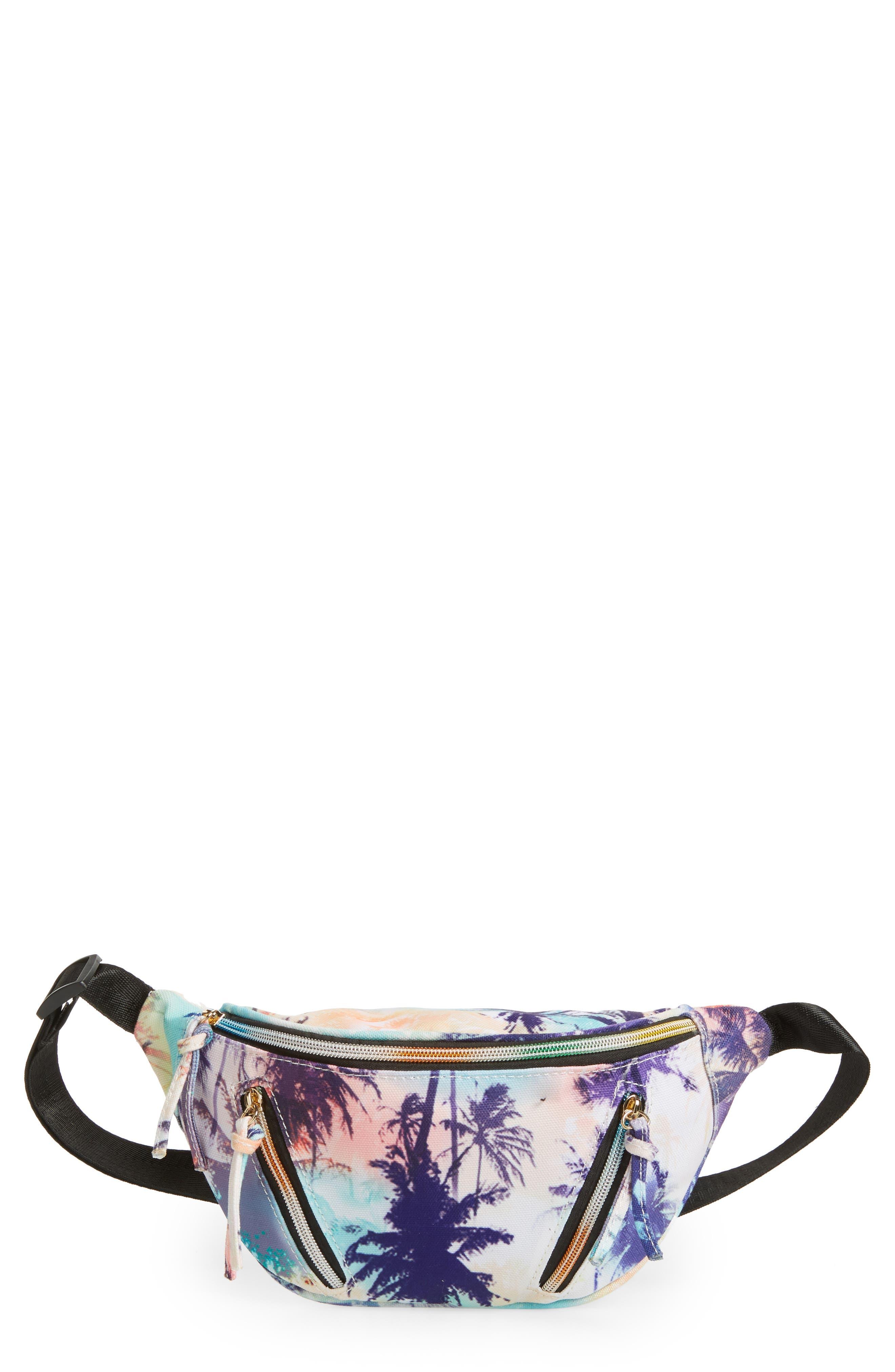 Yoki Bags Palm Print Canvas Belt Bag