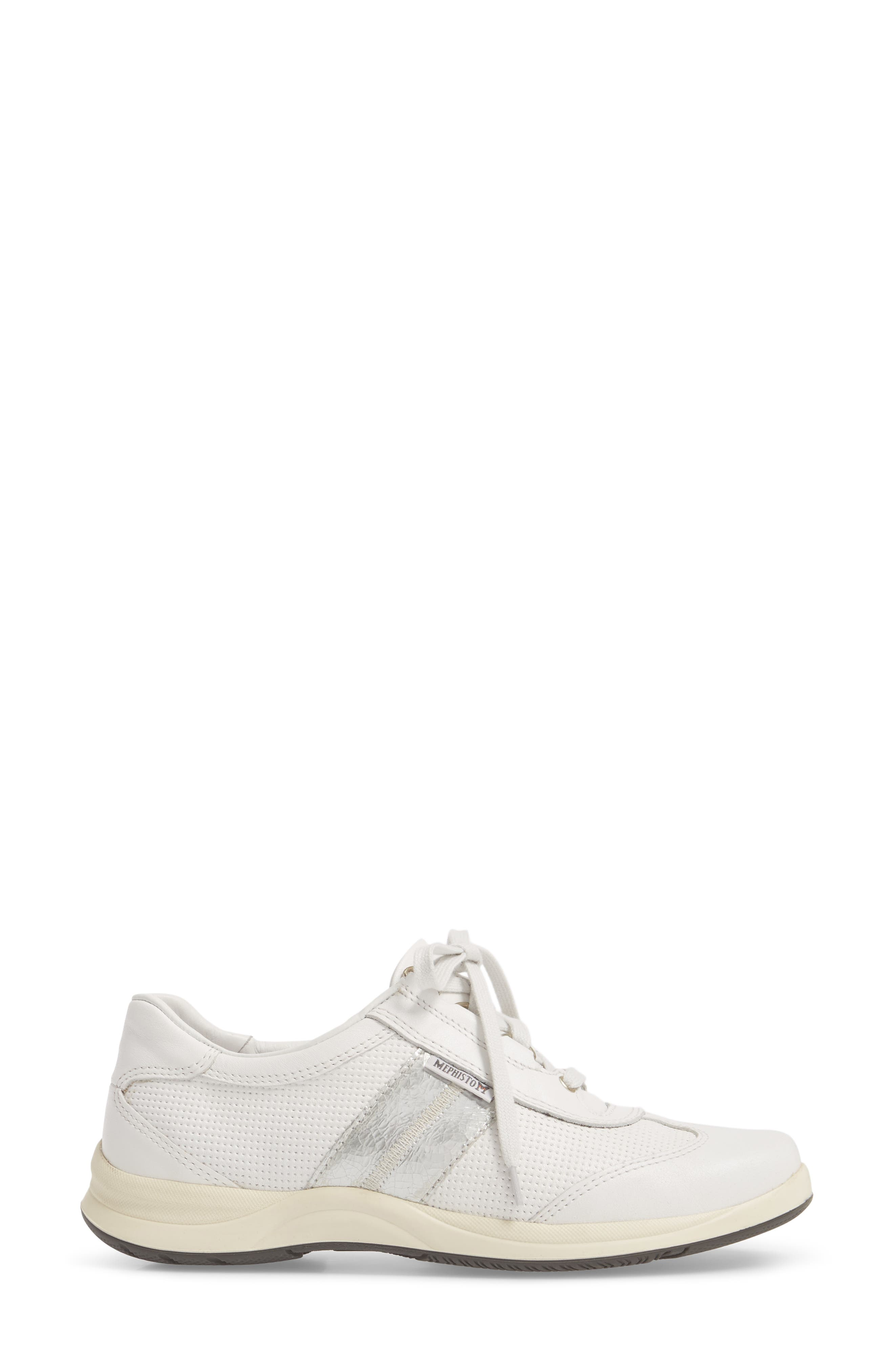 Laser Perforated Walking Shoe,                             Alternate thumbnail 3, color,                             White Fabric