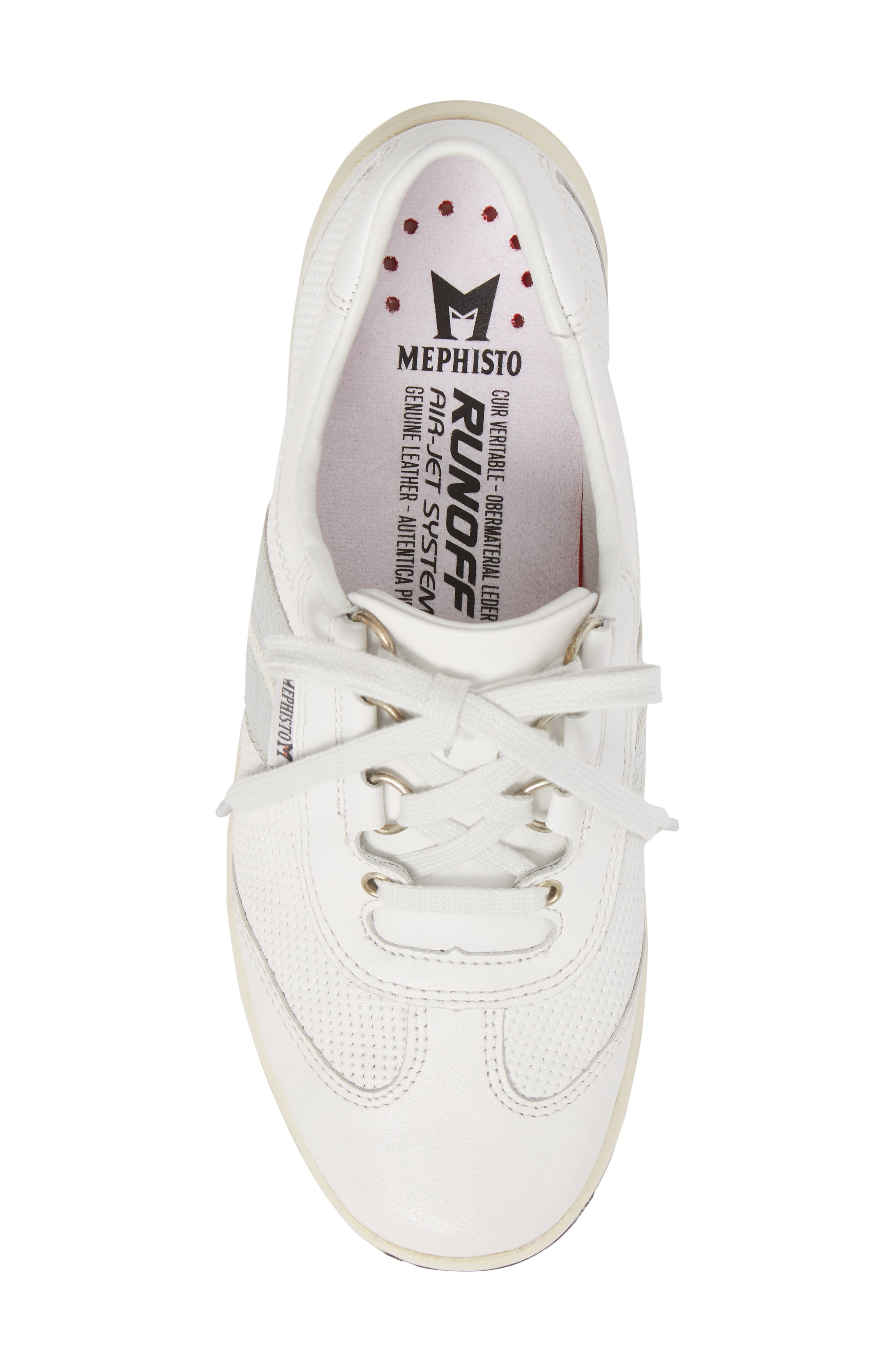Laser Perforated Walking Shoe,                             Alternate thumbnail 5, color,                             White Fabric