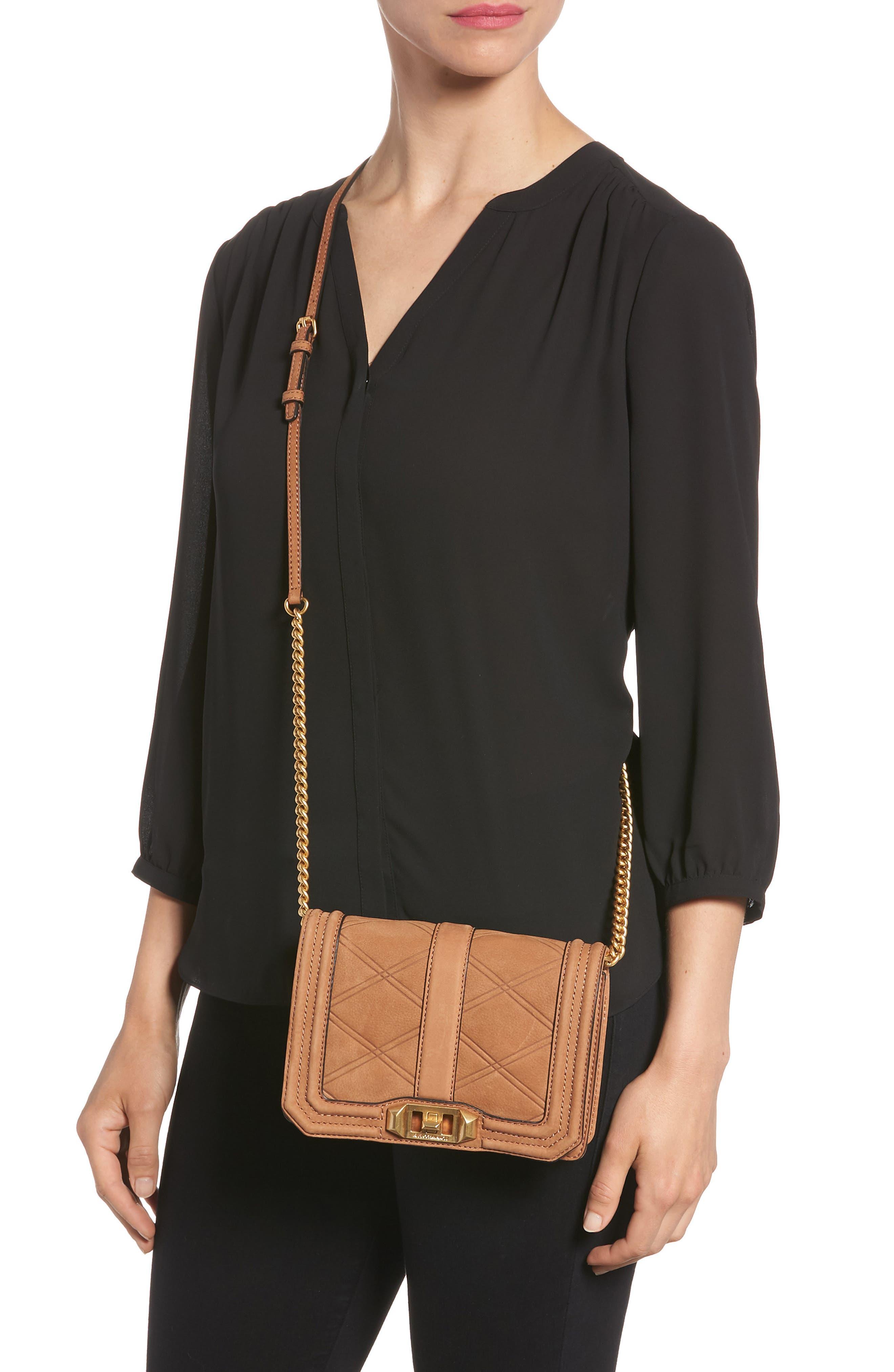 Small Love Nubuck Leather Crossbody Bag,                             Alternate thumbnail 2, color,                             Almond