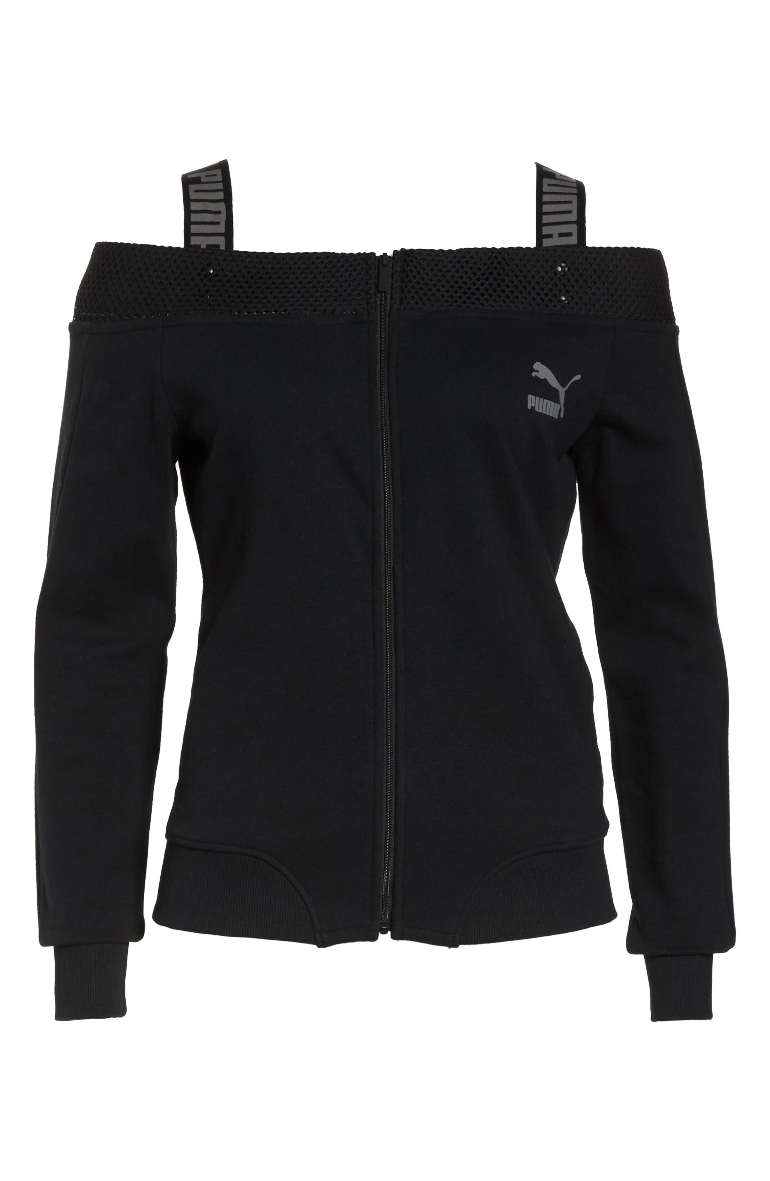 T7 Cold Shoulder Jacket,                             Alternate thumbnail 7, color,                             Puma Black