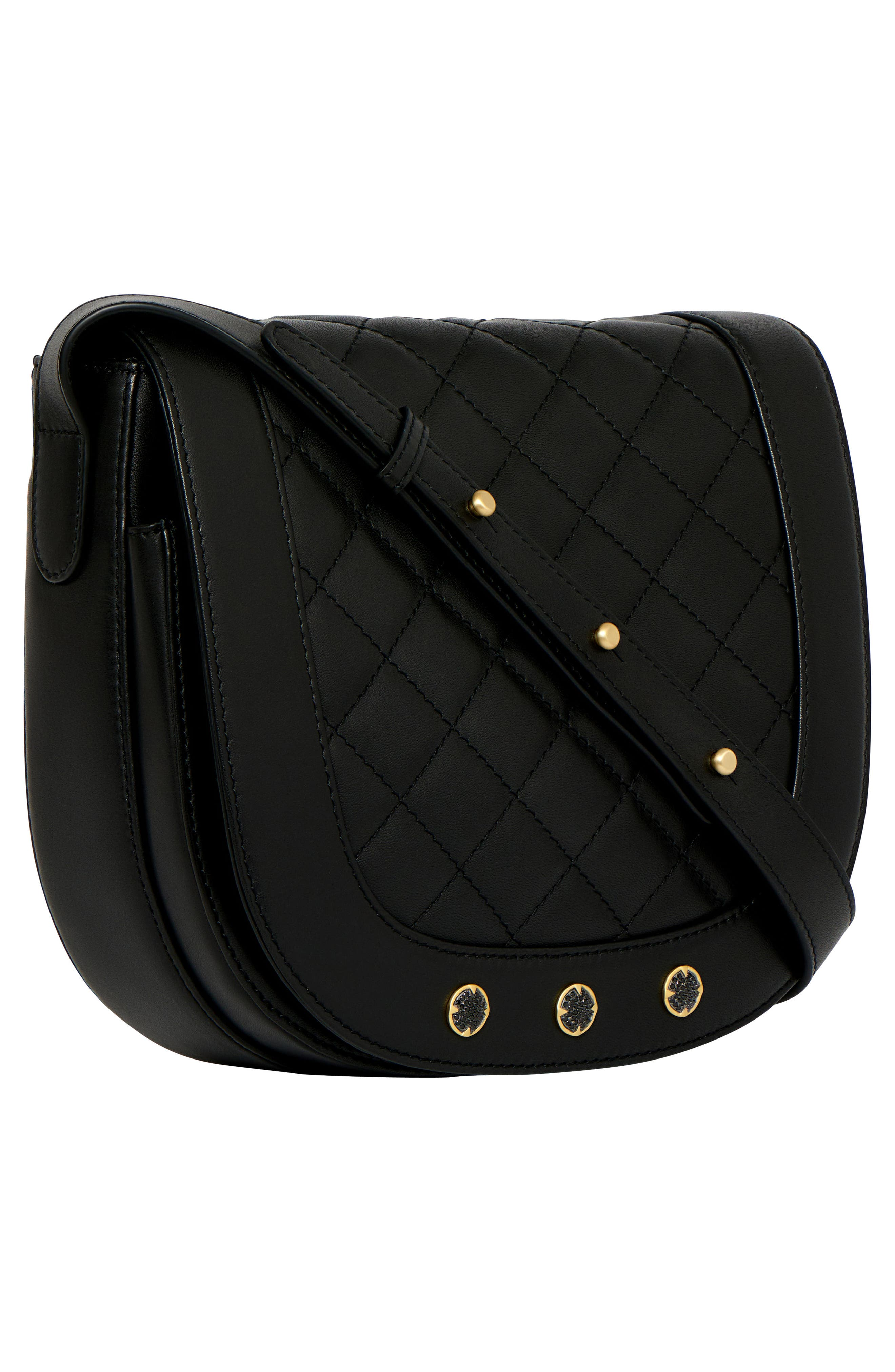 Bleeker Quilted Leather Messenger Bag,                             Alternate thumbnail 4, color,                             Black