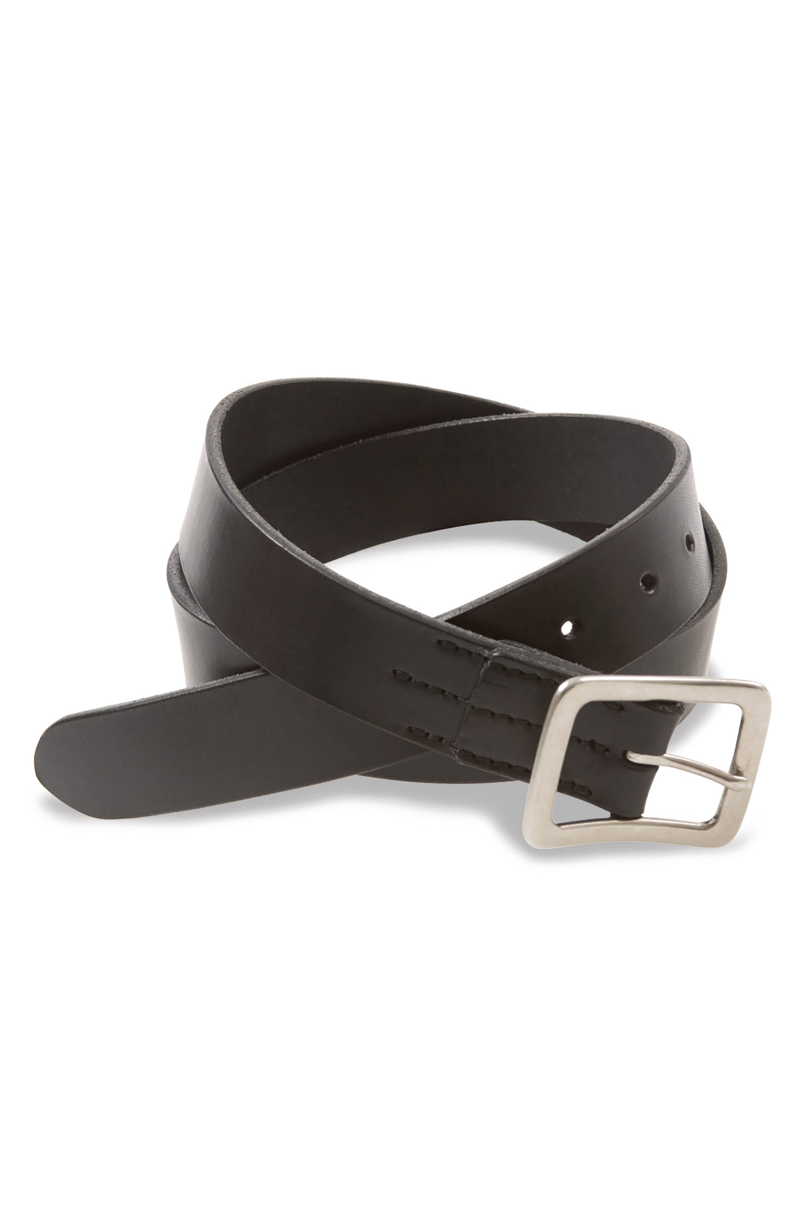 Leather Belt,                             Main thumbnail 1, color,                             Black English Bridle