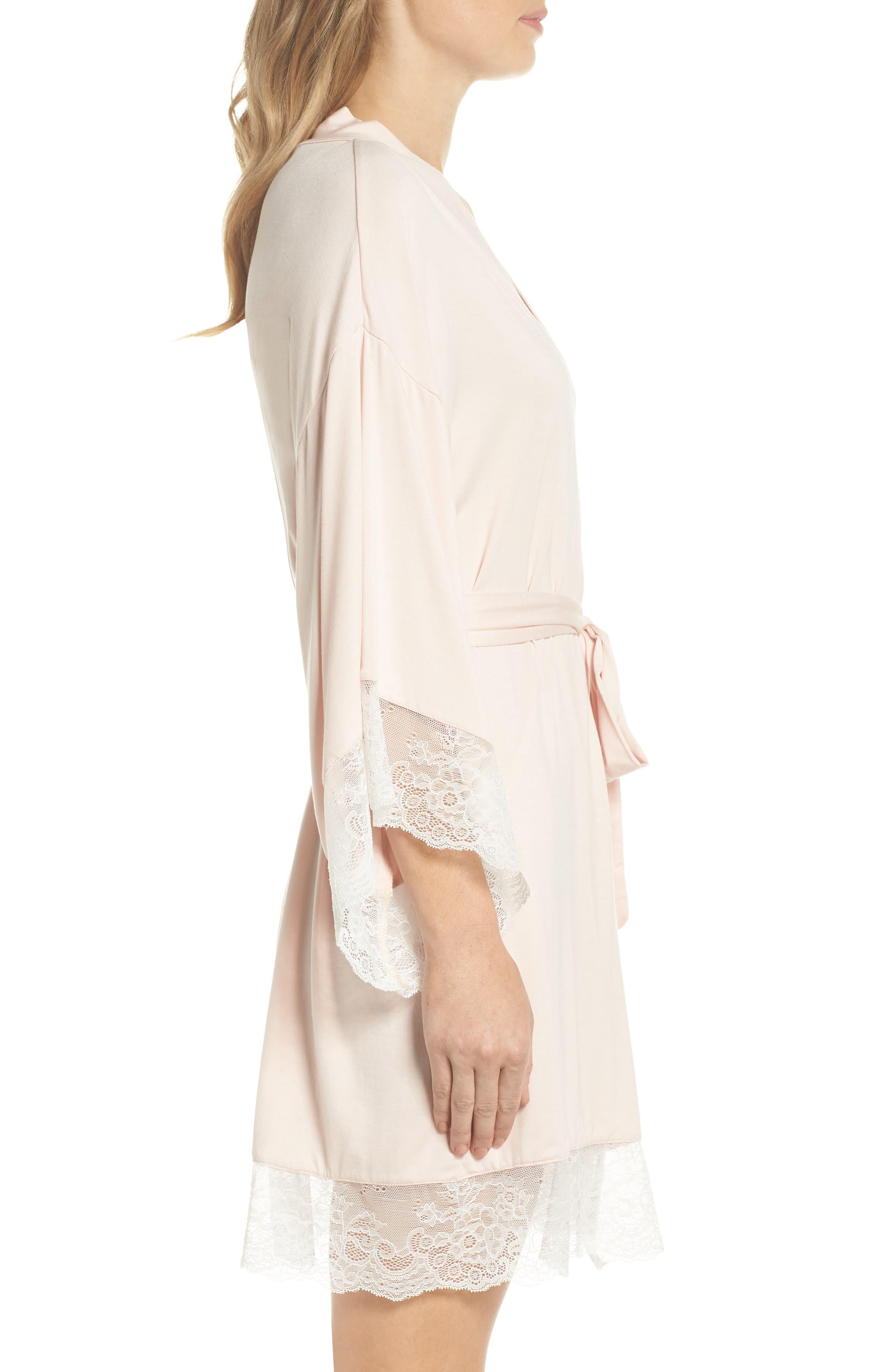 Serafina Kimono Robe,                             Alternate thumbnail 3, color,                             Pink