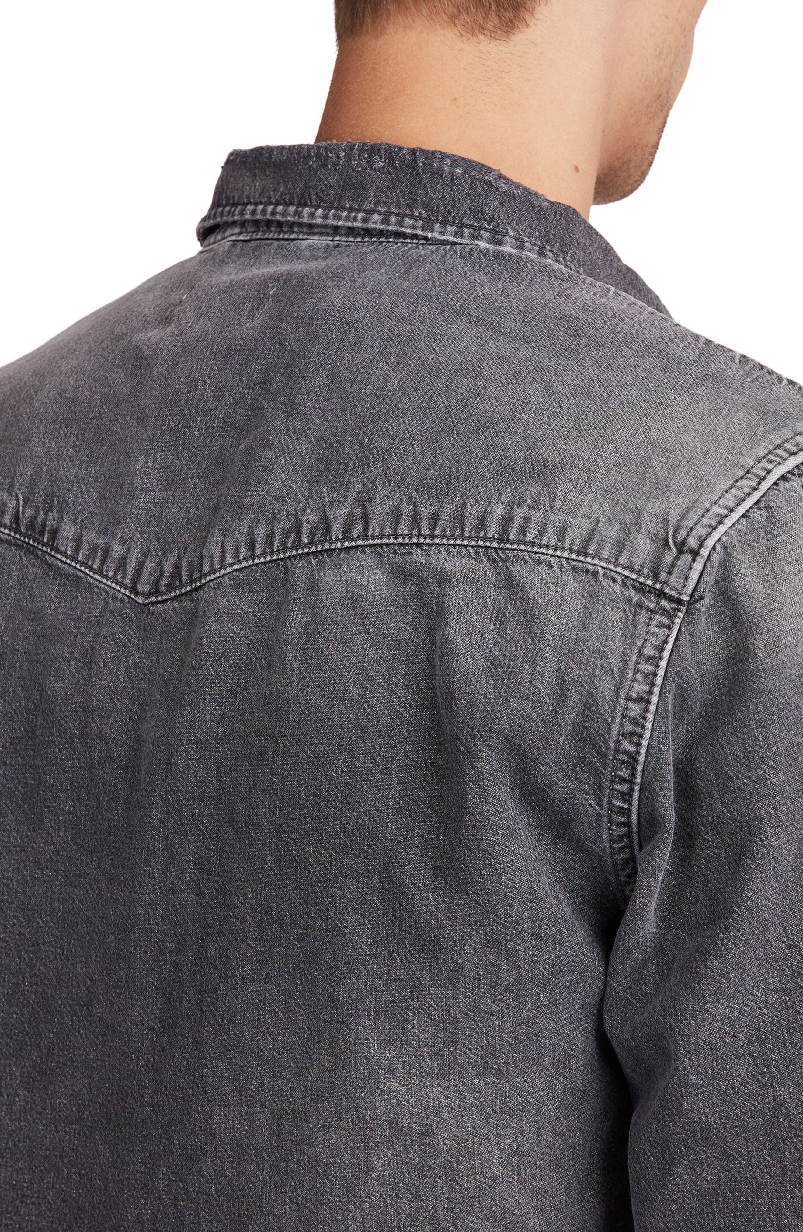 Beegan Distressed Denim Shirt Jacket,                             Alternate thumbnail 2, color,                             Black