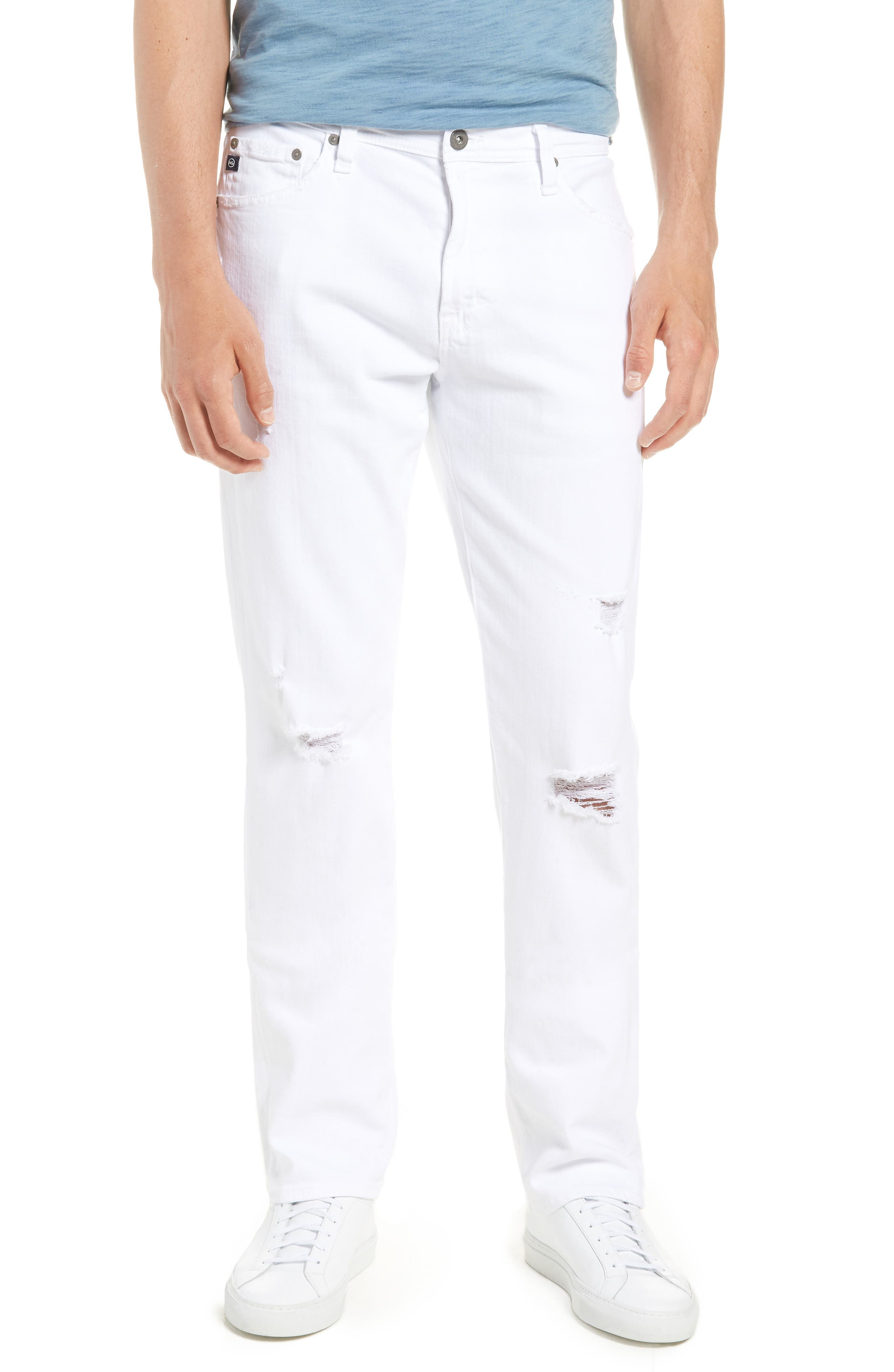 Everett Slim Straight Leg Jeans,                         Main,                         color, White Crash