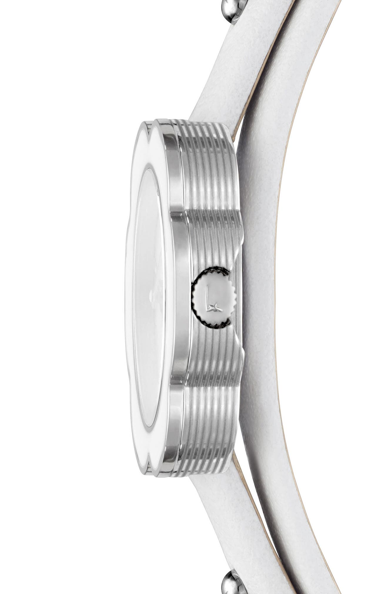 Fiore Leather Strap Watch, 24mm,                             Alternate thumbnail 3, color,                             White/ Silver