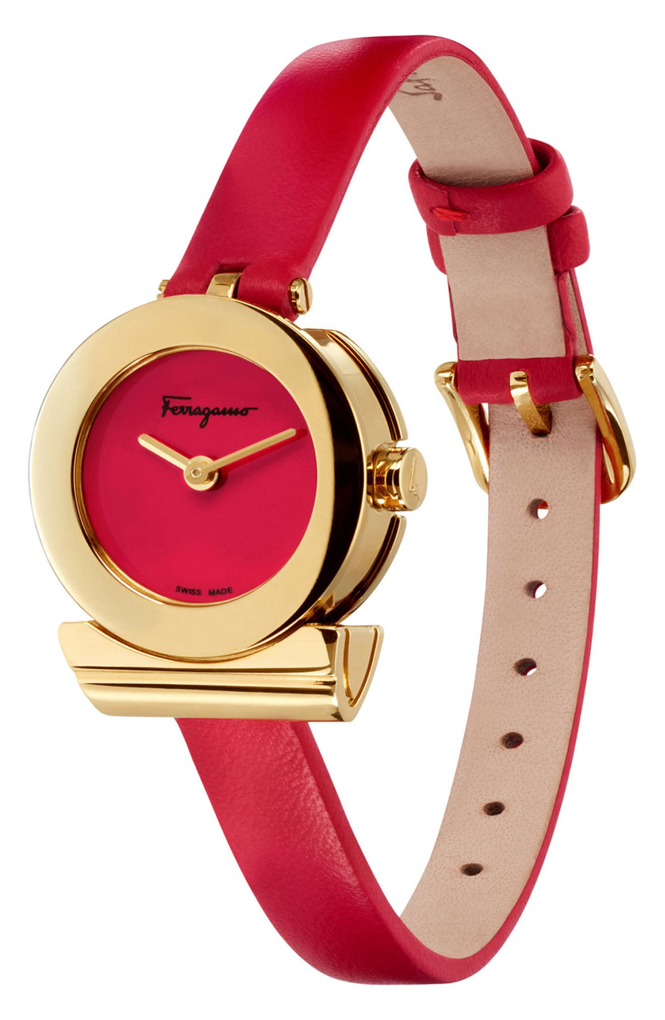 Gancino Leather Strap Watch, 22mm,                             Alternate thumbnail 4, color,                             Red/ Gold