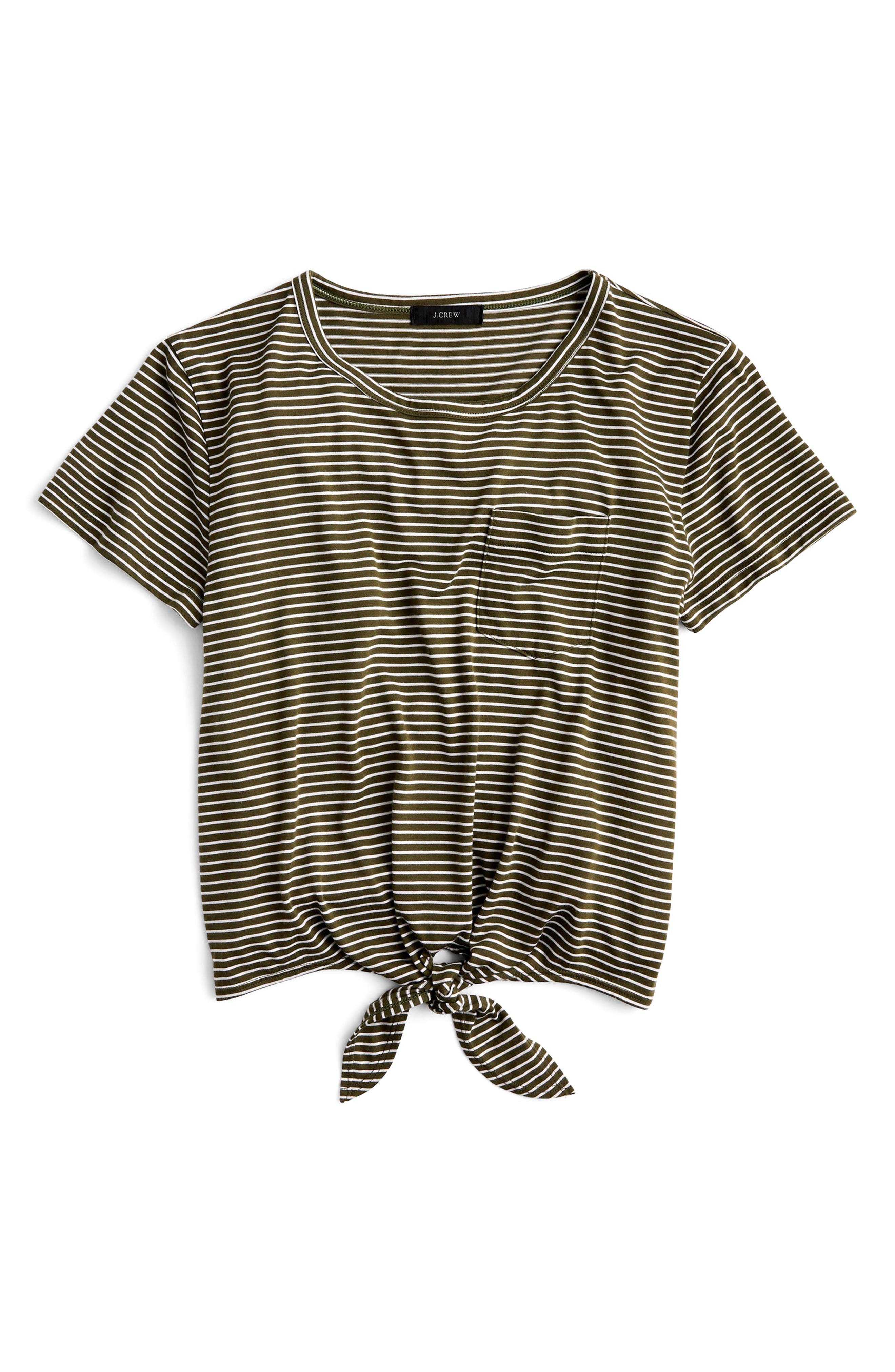 Knotted Stripe Pocket Tee,                             Alternate thumbnail 3, color,                             White Loden Green