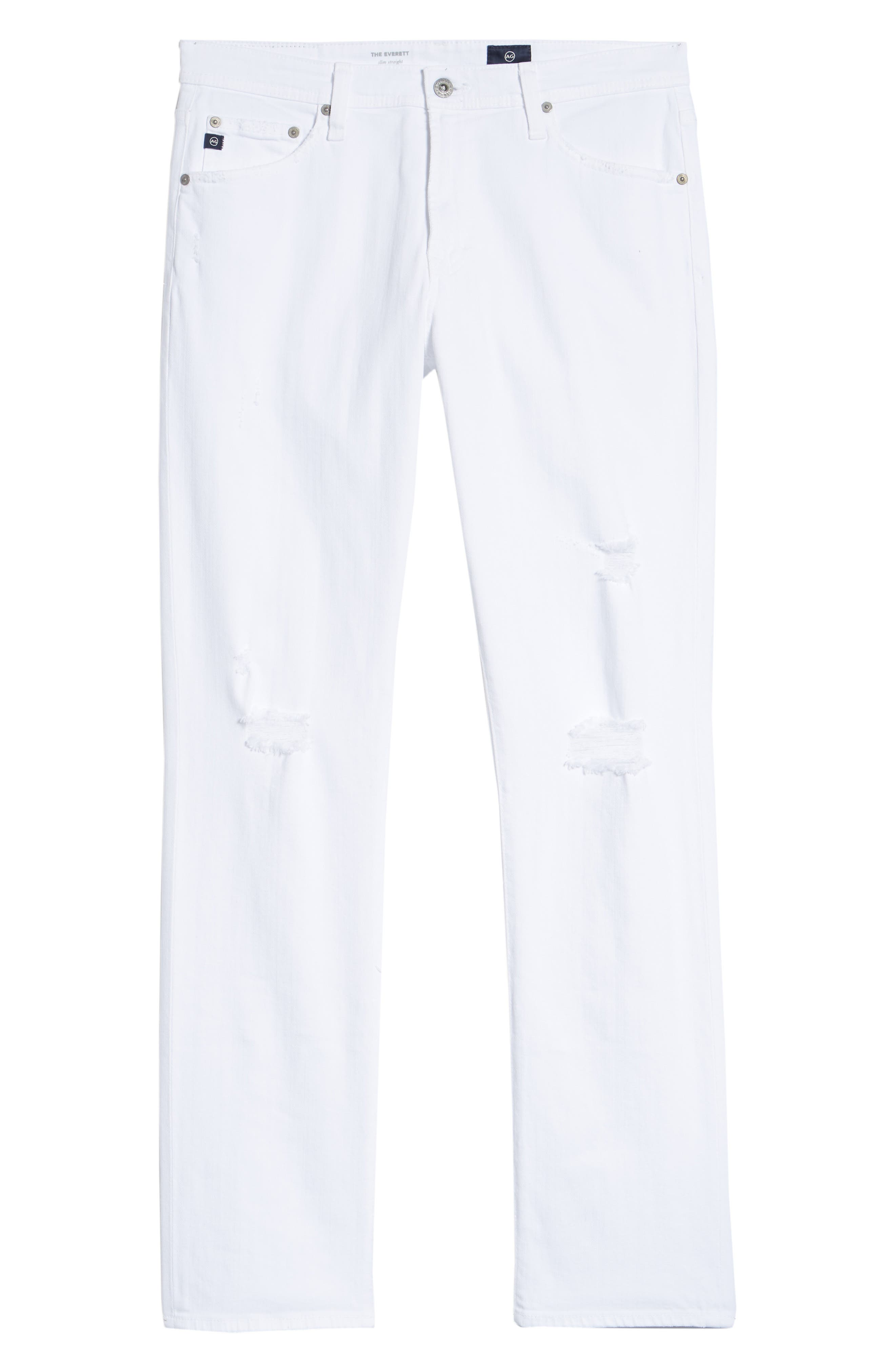 Everett Slim Straight Leg Jeans,                             Alternate thumbnail 6, color,                             White Crash