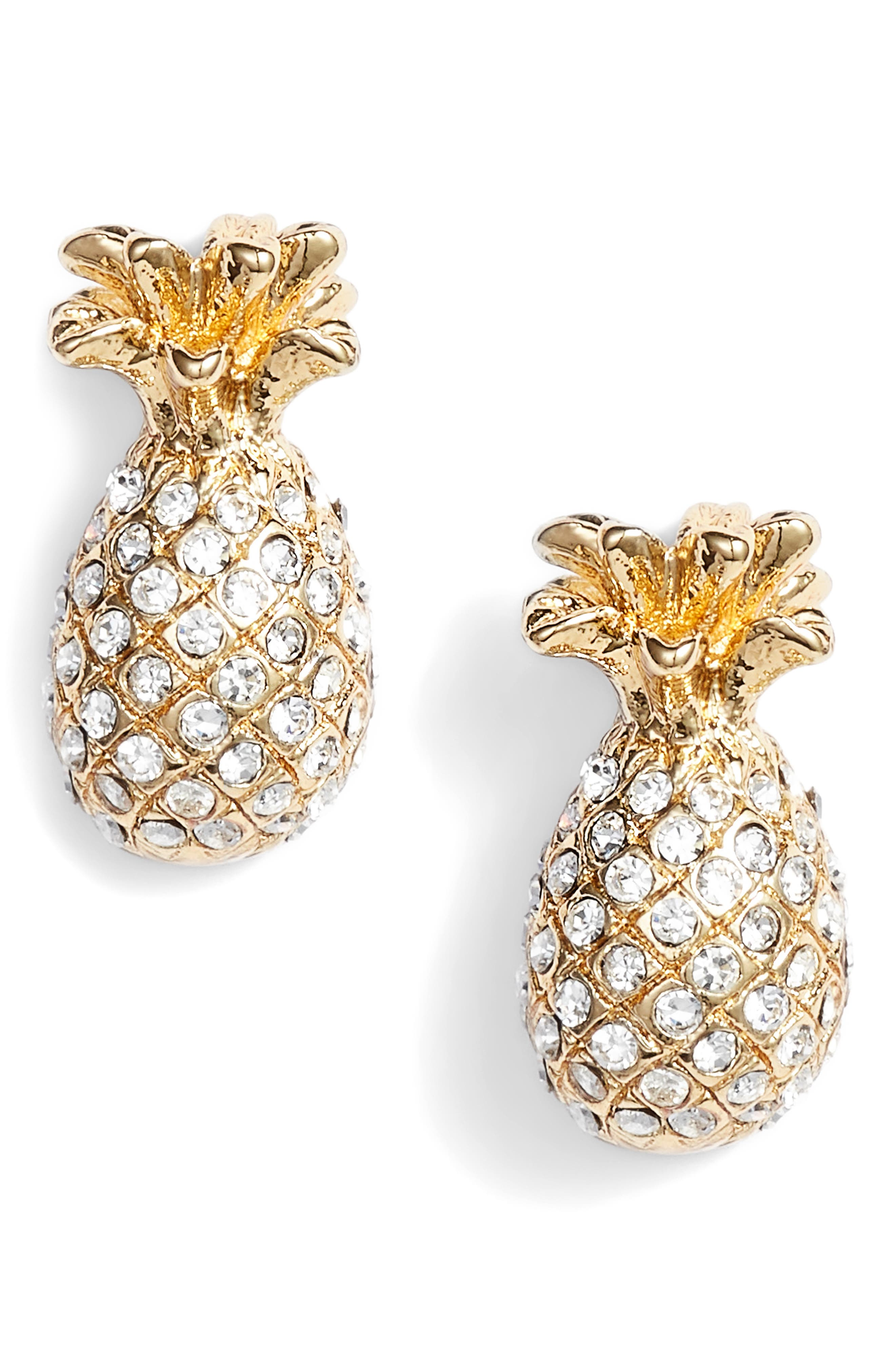 by the pool pavé pineapple stud earrings,                             Main thumbnail 1, color,                             Clear/ Gold