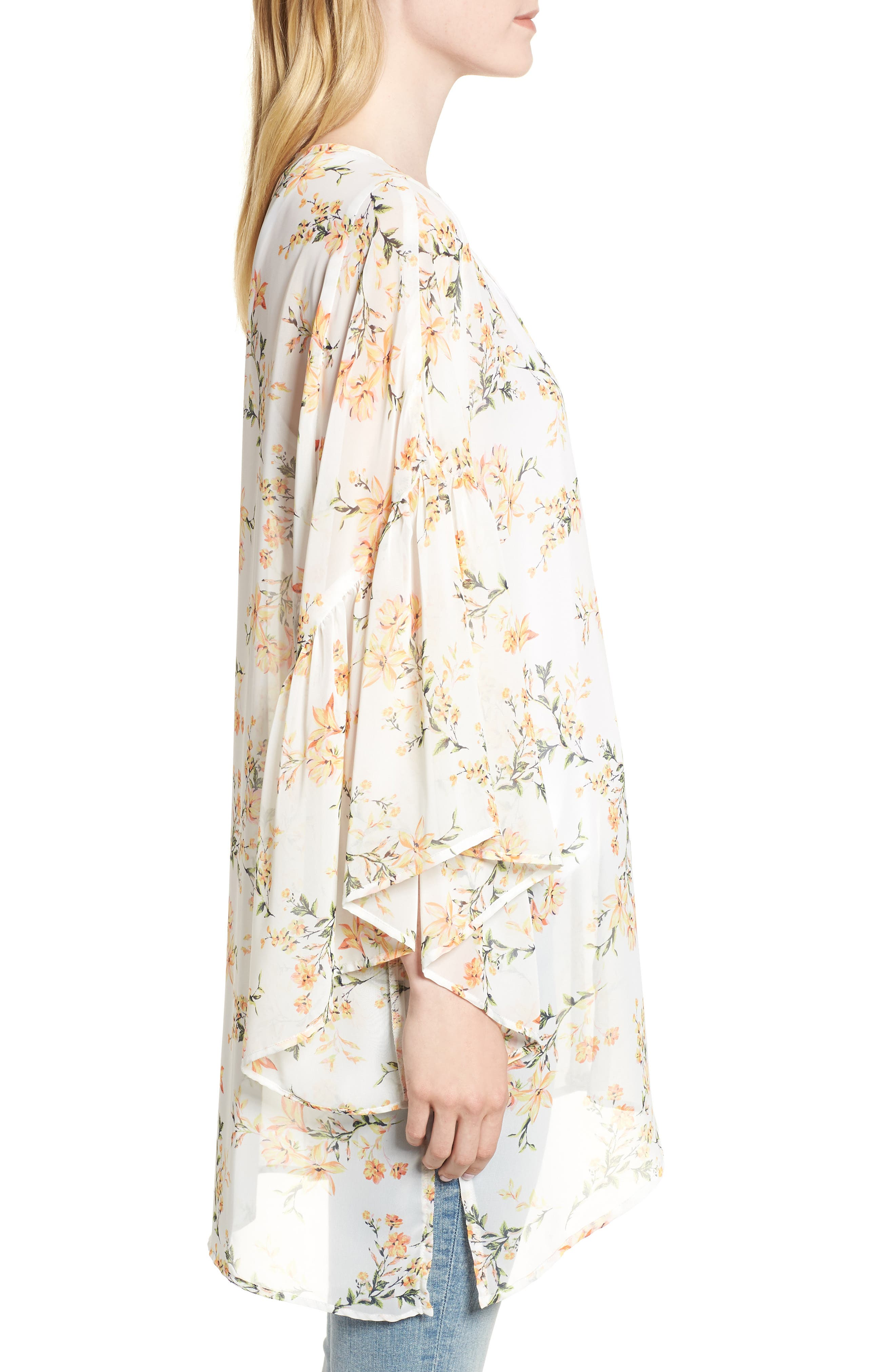 Floral Print Ruffle Sleeve Kimono,                             Alternate thumbnail 3, color,                             Yellow Combo