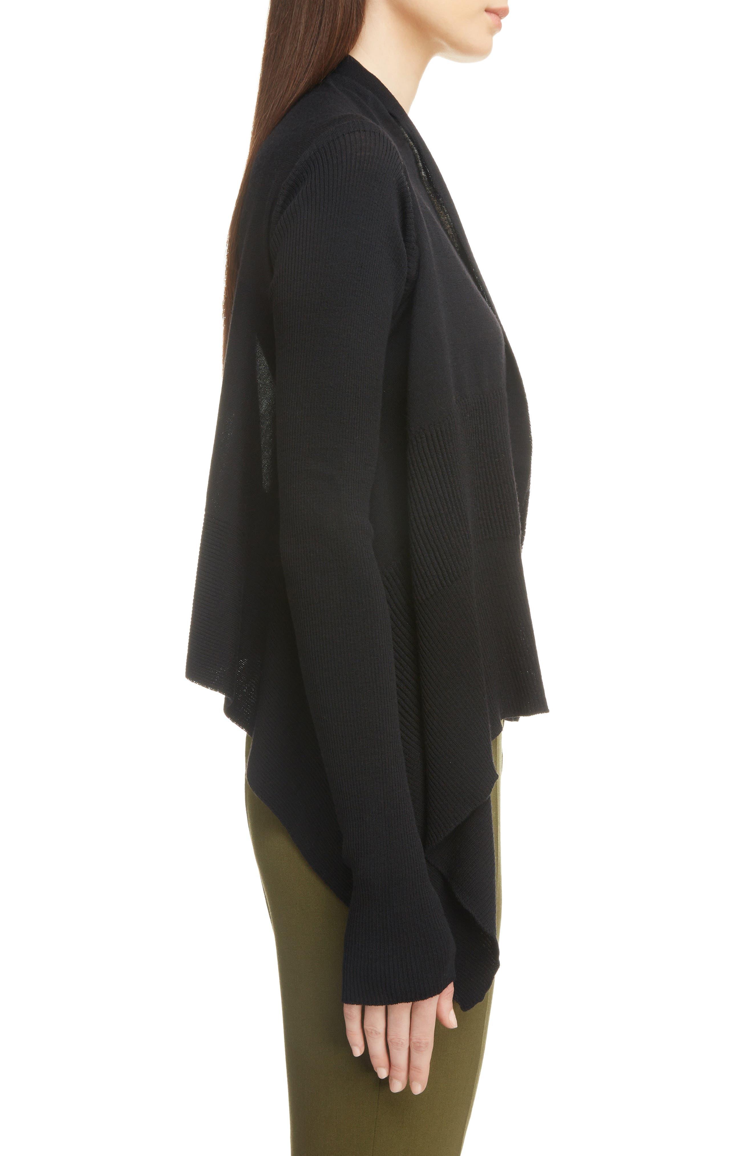 Merino Wool Drape Cardigan,                             Alternate thumbnail 3, color,                             Black