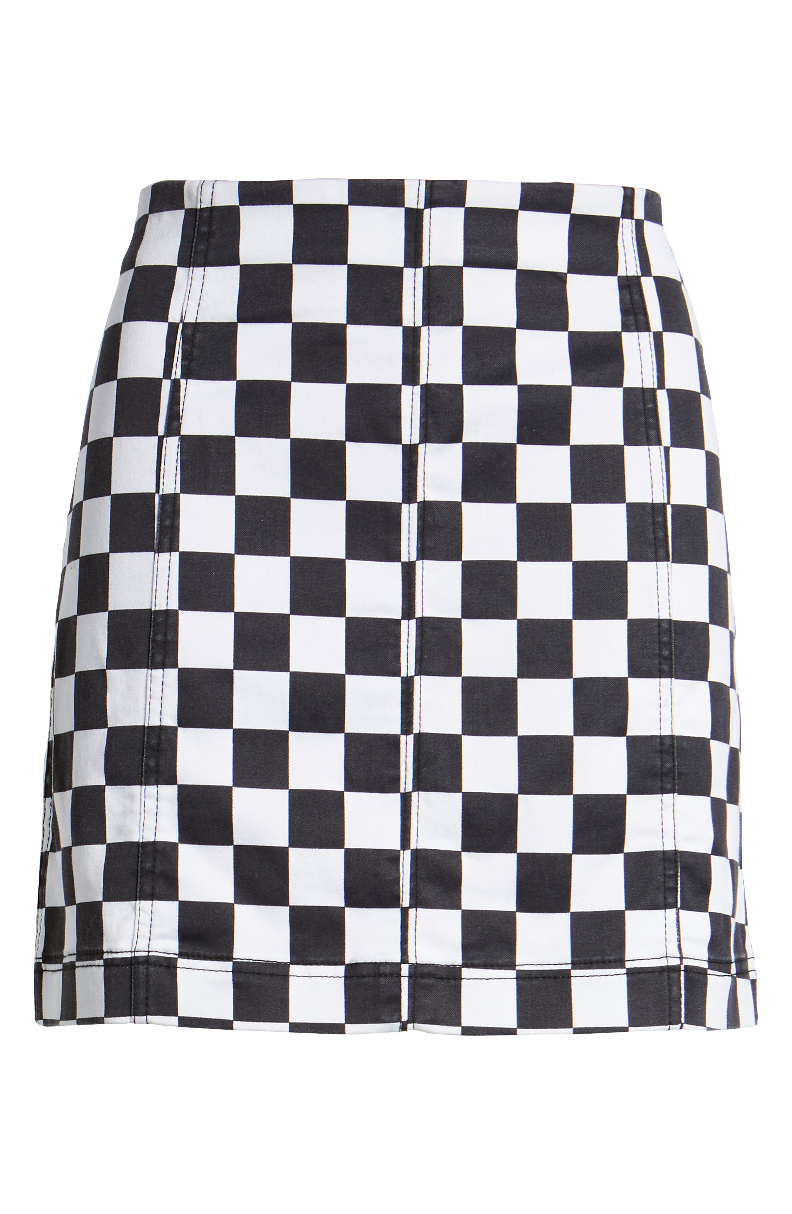 Checkered Denim Miniskirt,                             Alternate thumbnail 6, color,                             Black/ White Checkered