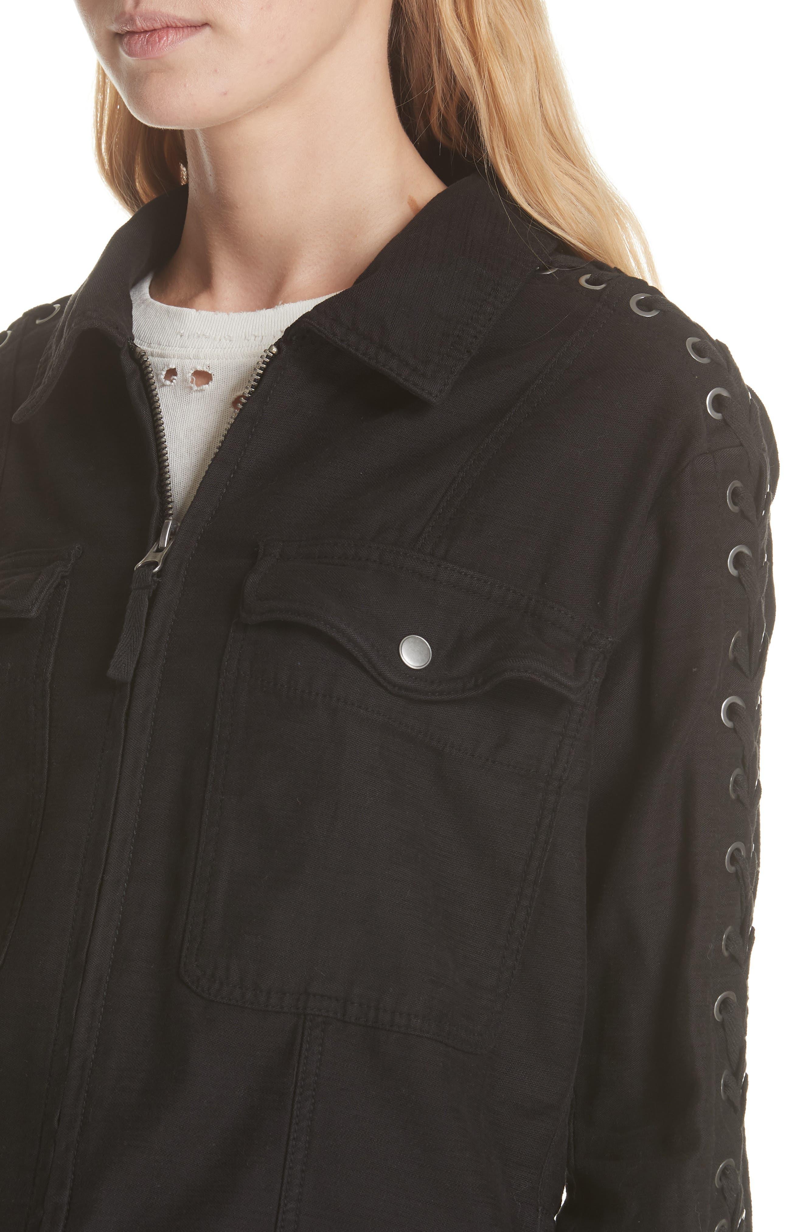 Faye Military Jacket,                             Alternate thumbnail 4, color,                             Black