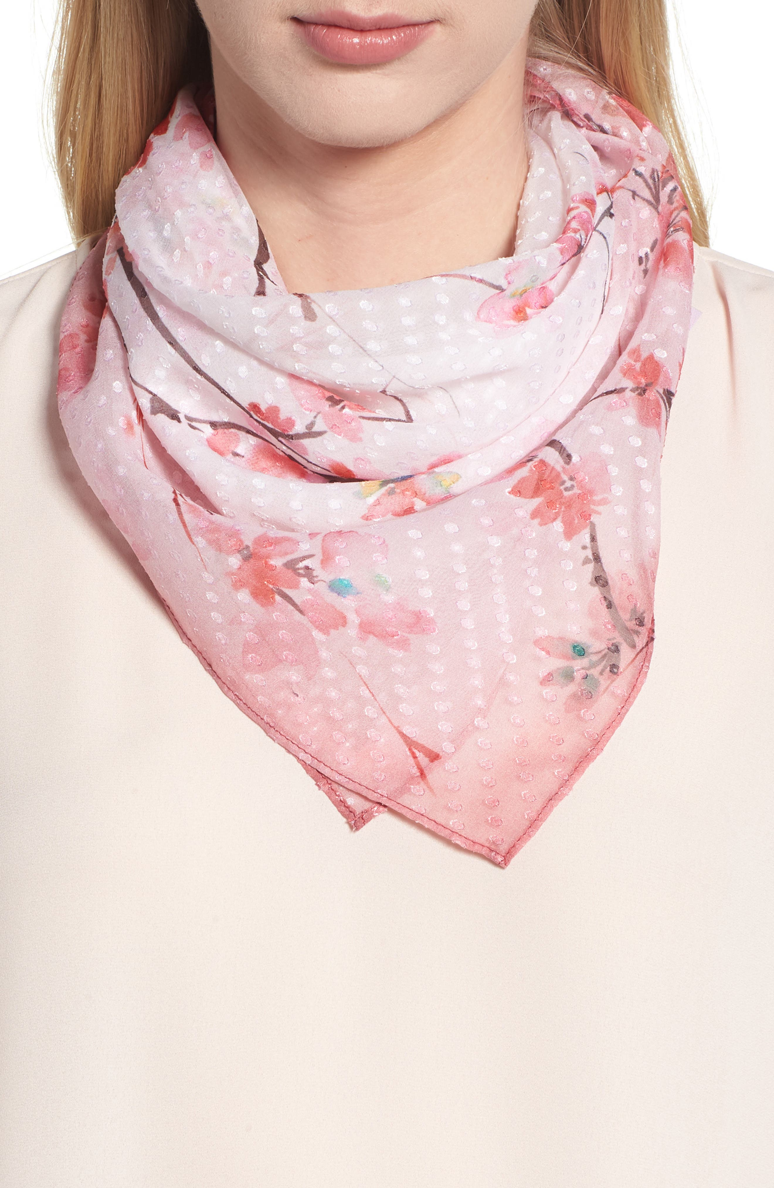 Jacquard Dot Silk Blend Scarf,                             Main thumbnail 1, color,                             Pink Enlightened Branches