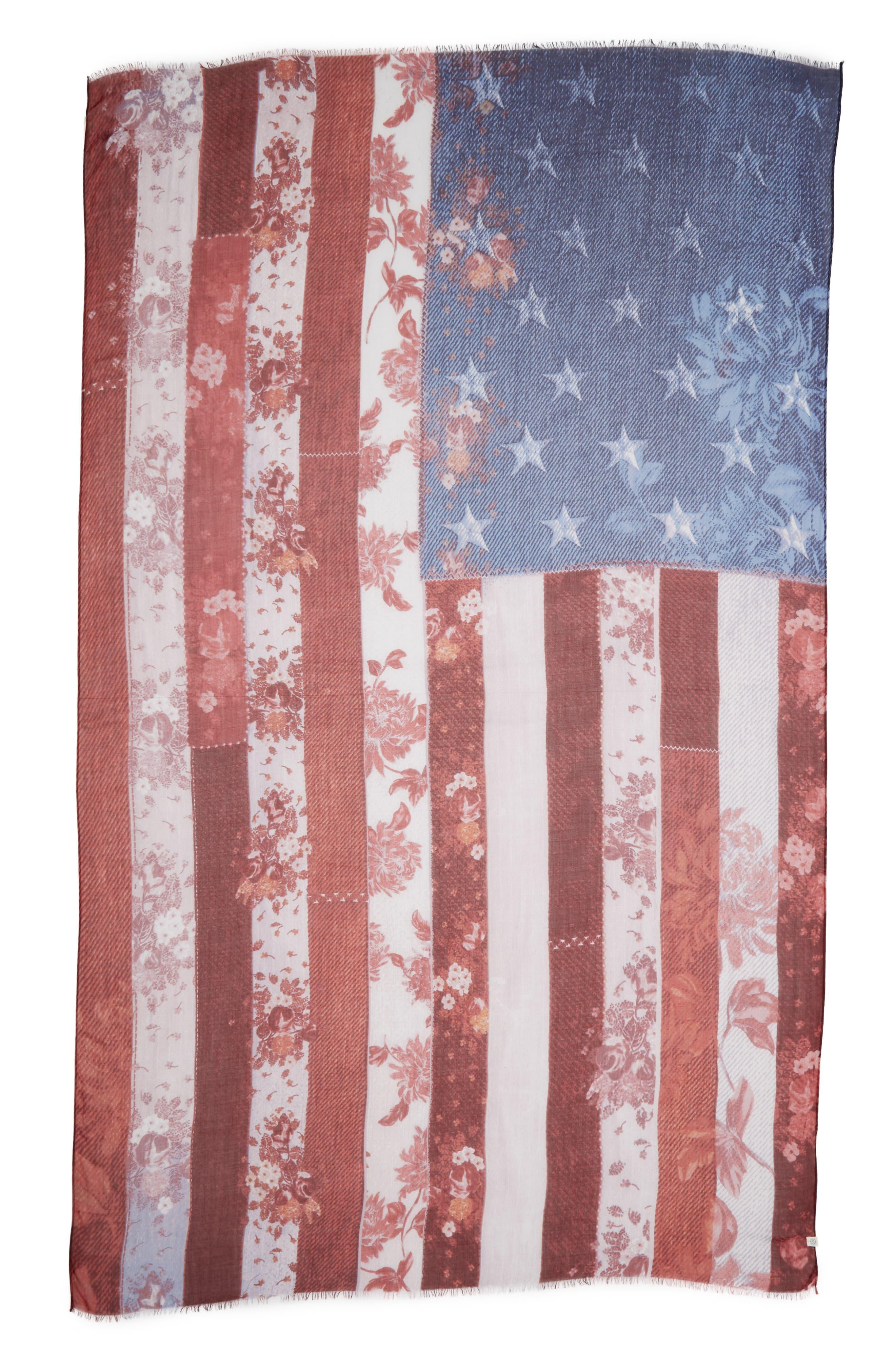 Heirloom Flag Print Wrap,                             Alternate thumbnail 2, color,                             Red Heirloom Flag