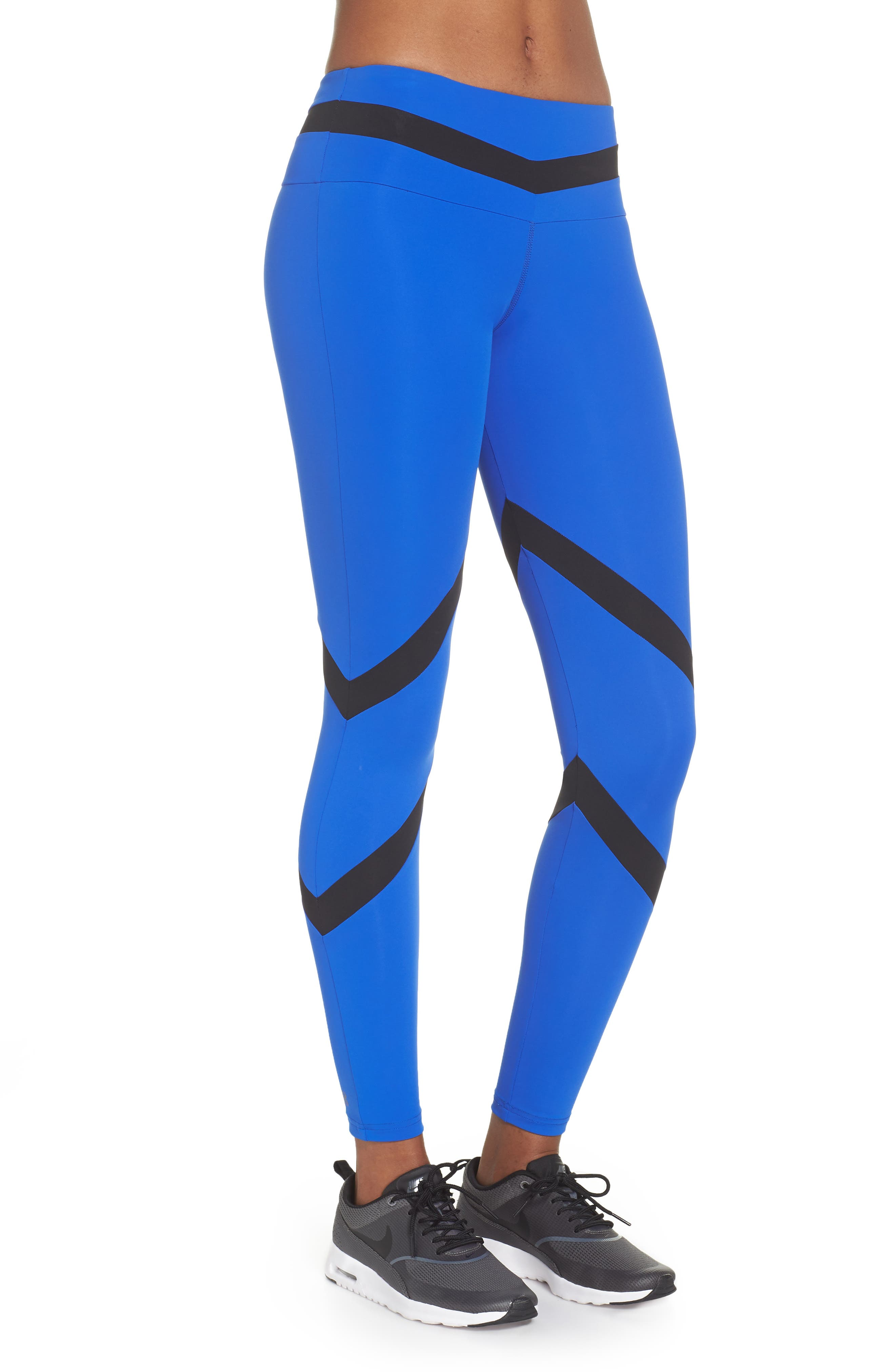 BoomBoom Athletica Tricolor Leggings,                             Alternate thumbnail 3, color,                             Cobalt Blue/ Black