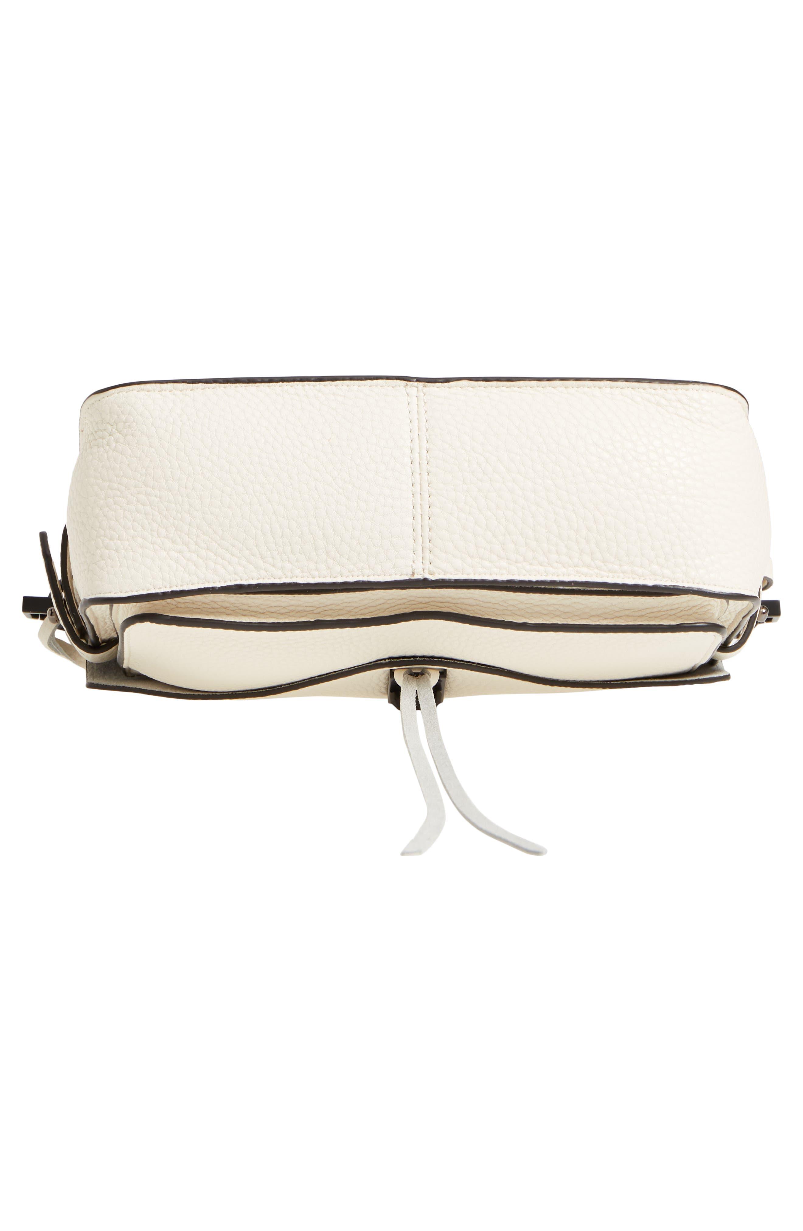'Small Darren' Leather Messenger Bag,                             Alternate thumbnail 5, color,                             Antique White