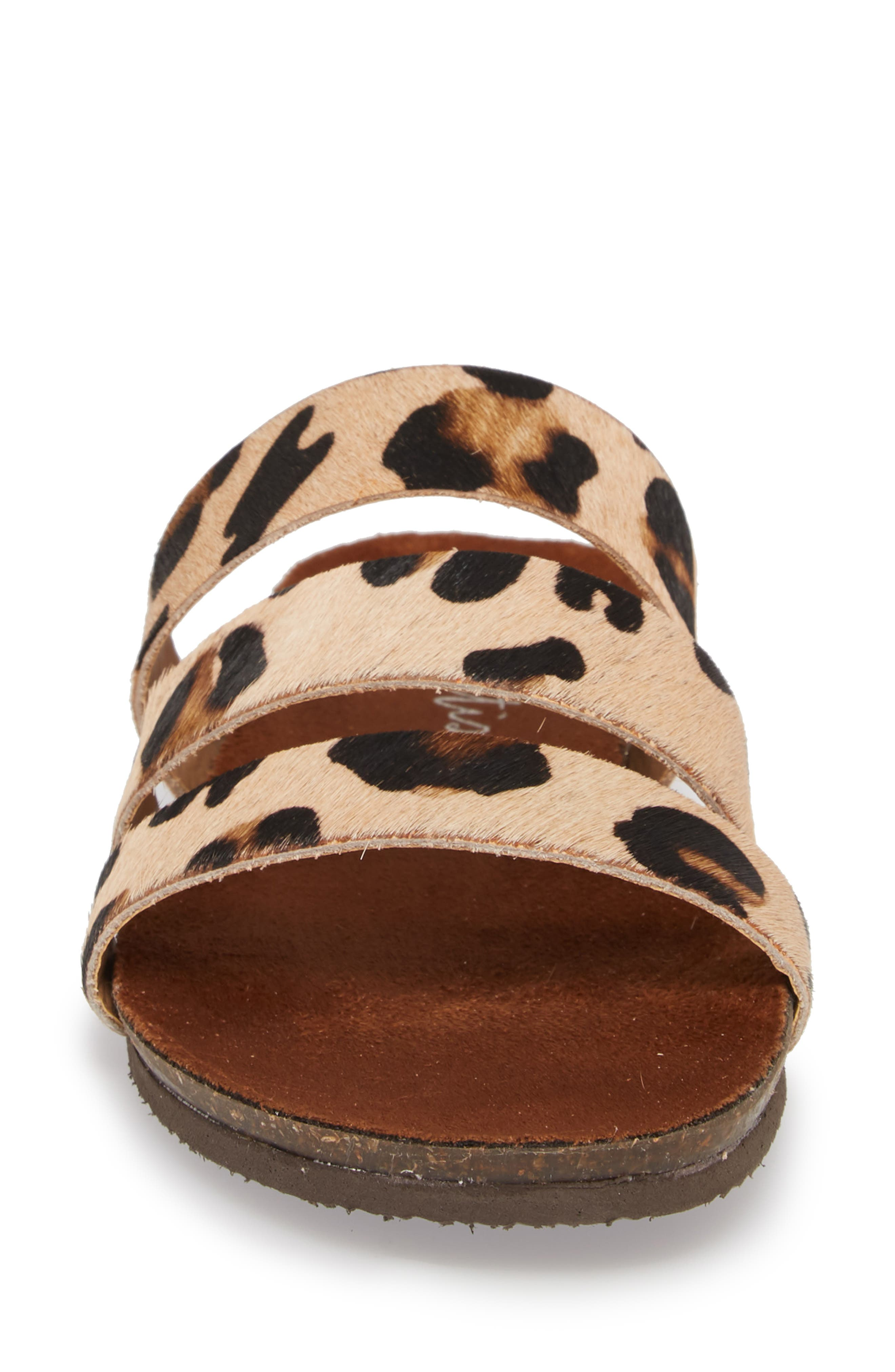 Florence Slide Sandal,                             Alternate thumbnail 4, color,                             Leopard Calf Hair