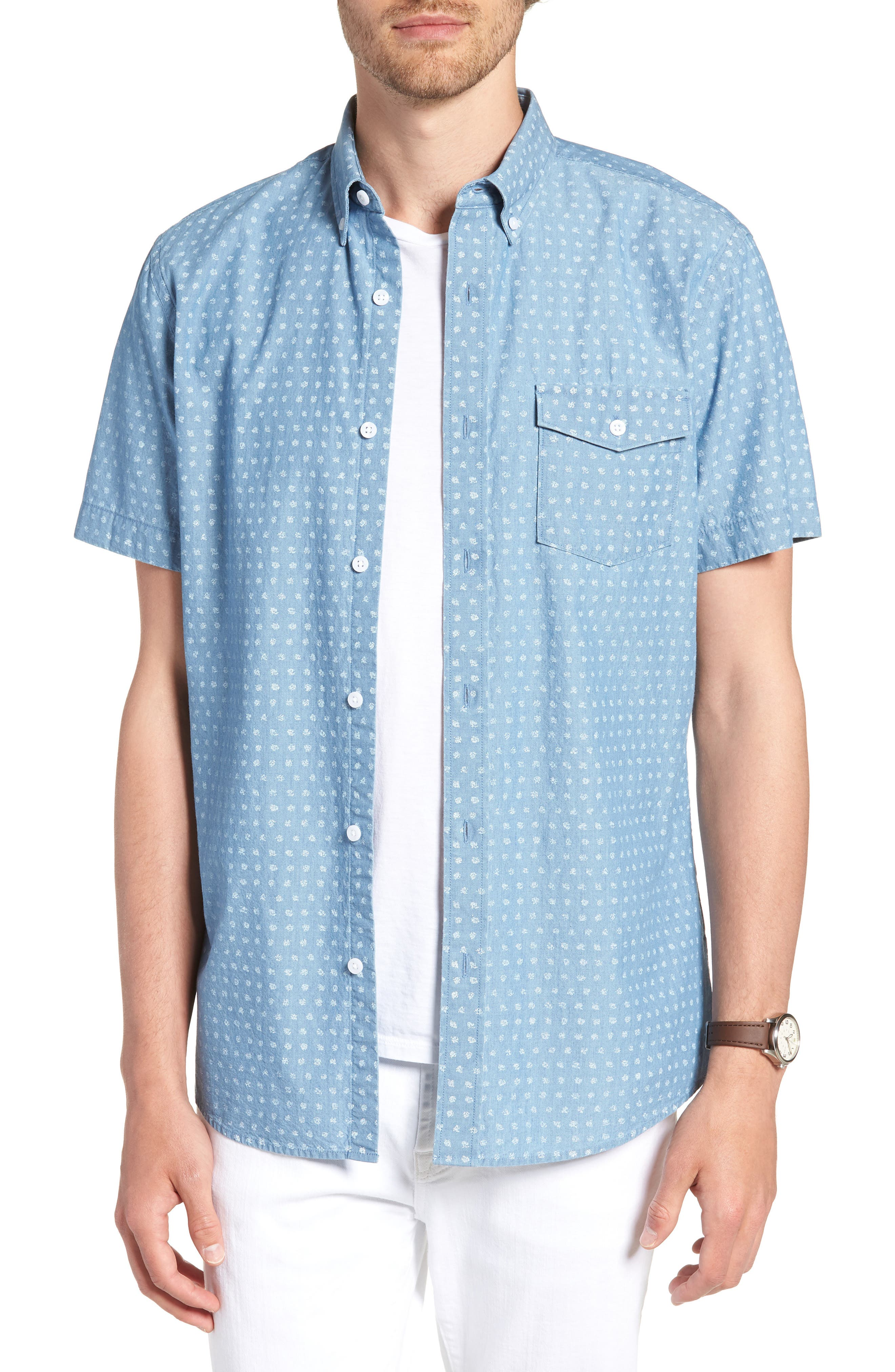 Ivy Trim Fit Dot Sport Shirt,                             Main thumbnail 1, color,                             Blue Chambray Blurred Dot