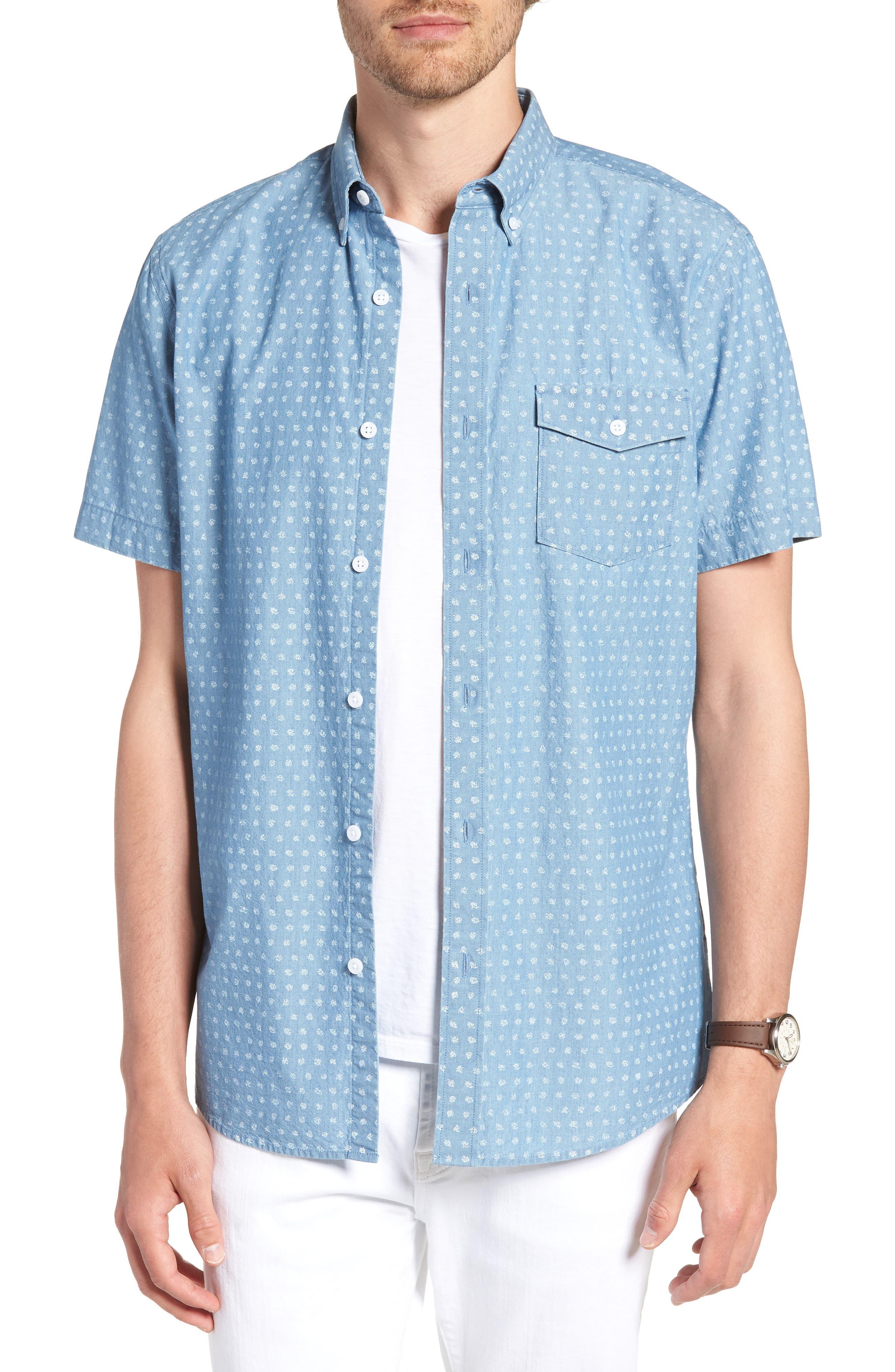 Ivy Trim Fit Dot Sport Shirt,                         Main,                         color, Blue Chambray Blurred Dot