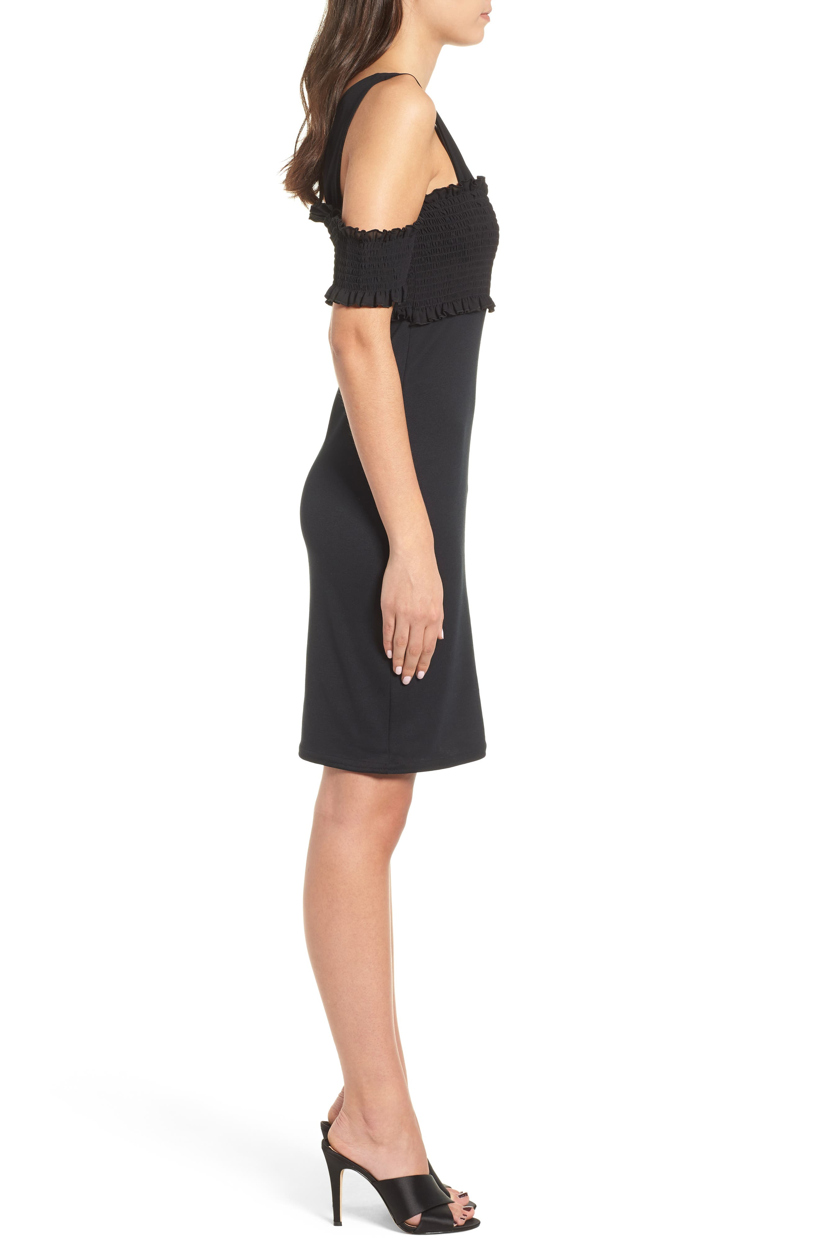 Smocked Body-Con Dress,                             Alternate thumbnail 4, color,                             Black