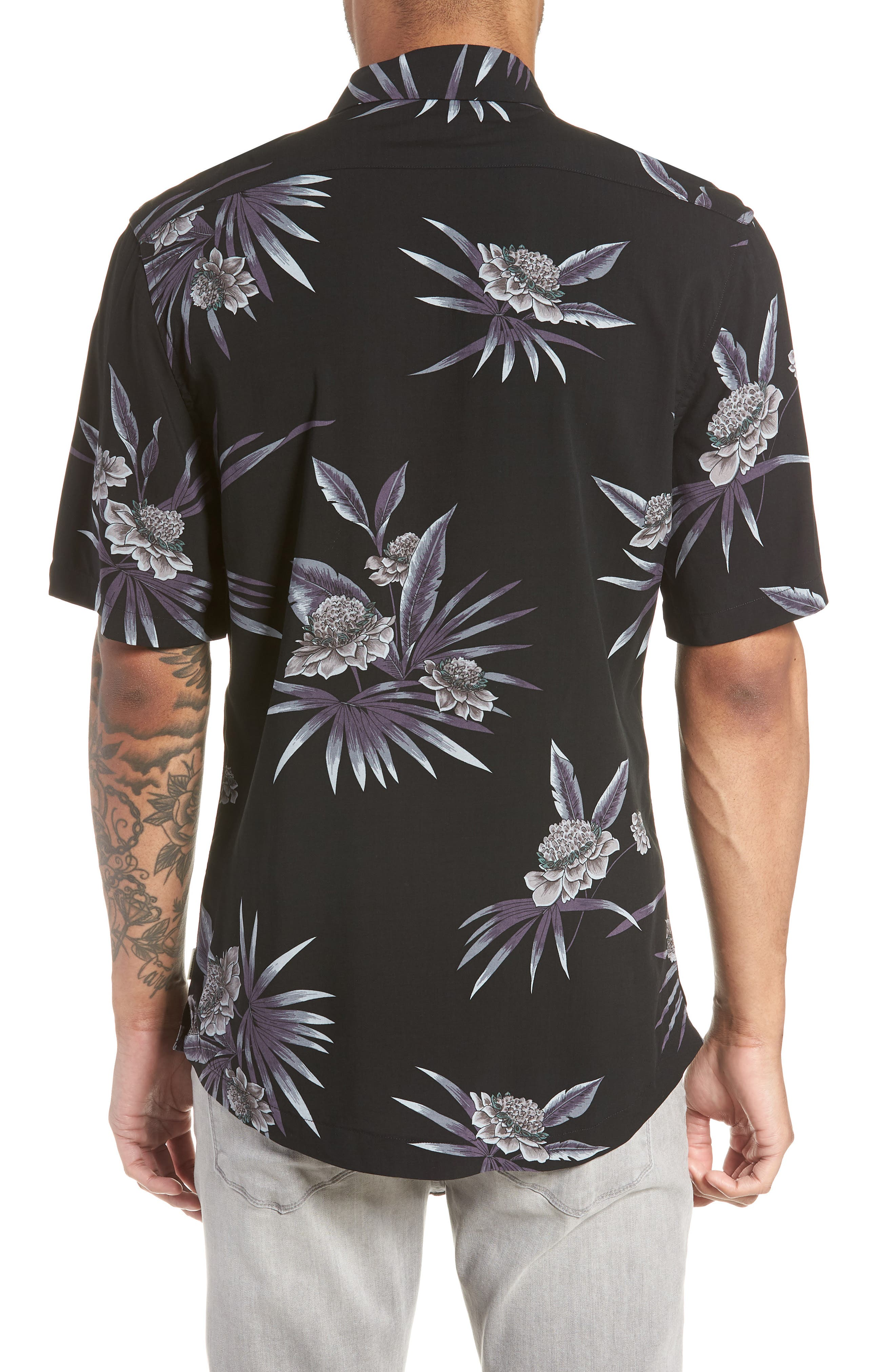 There After Trim Fit Short Sleeve Sport Shirt,                             Alternate thumbnail 3, color,                             Midnight
