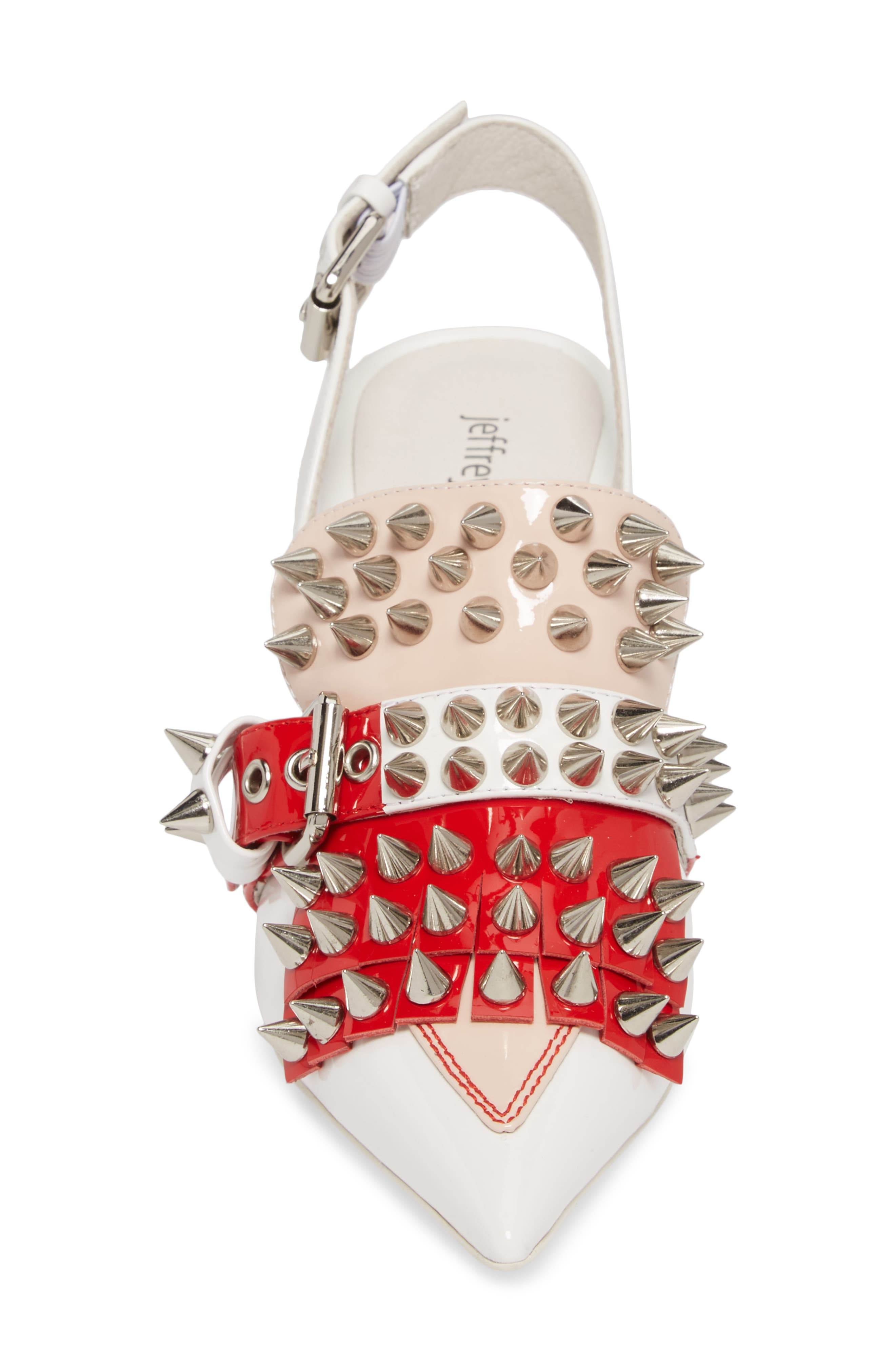 Vicious-2 Studded Loafer Pump,                             Alternate thumbnail 4, color,                             White/ Red/ Pink Patent/ White