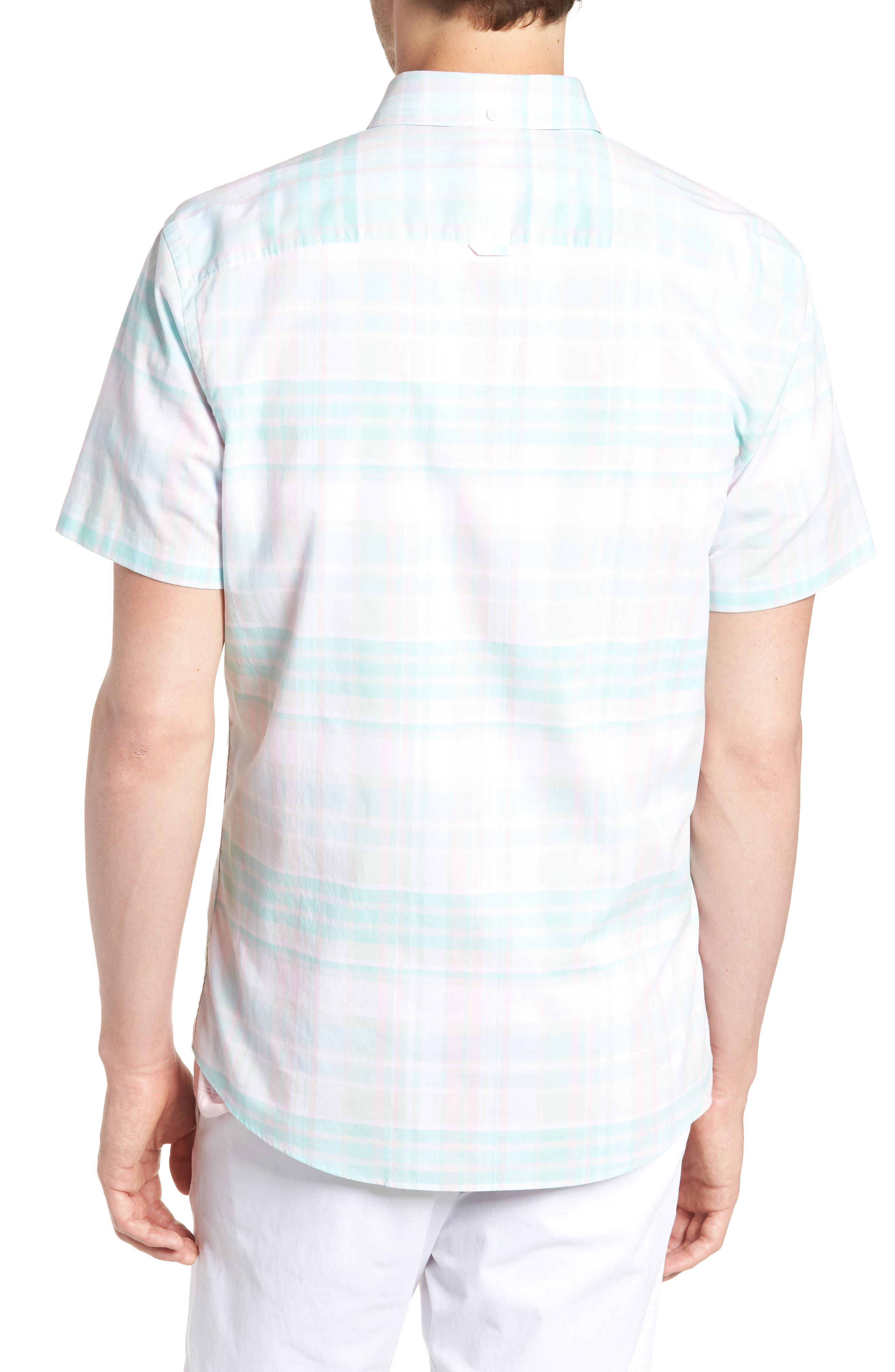 Trim Fit Plaid Short Sleeve Sport Shirt,                             Alternate thumbnail 3, color,                             Green Largo Pink Plaid
