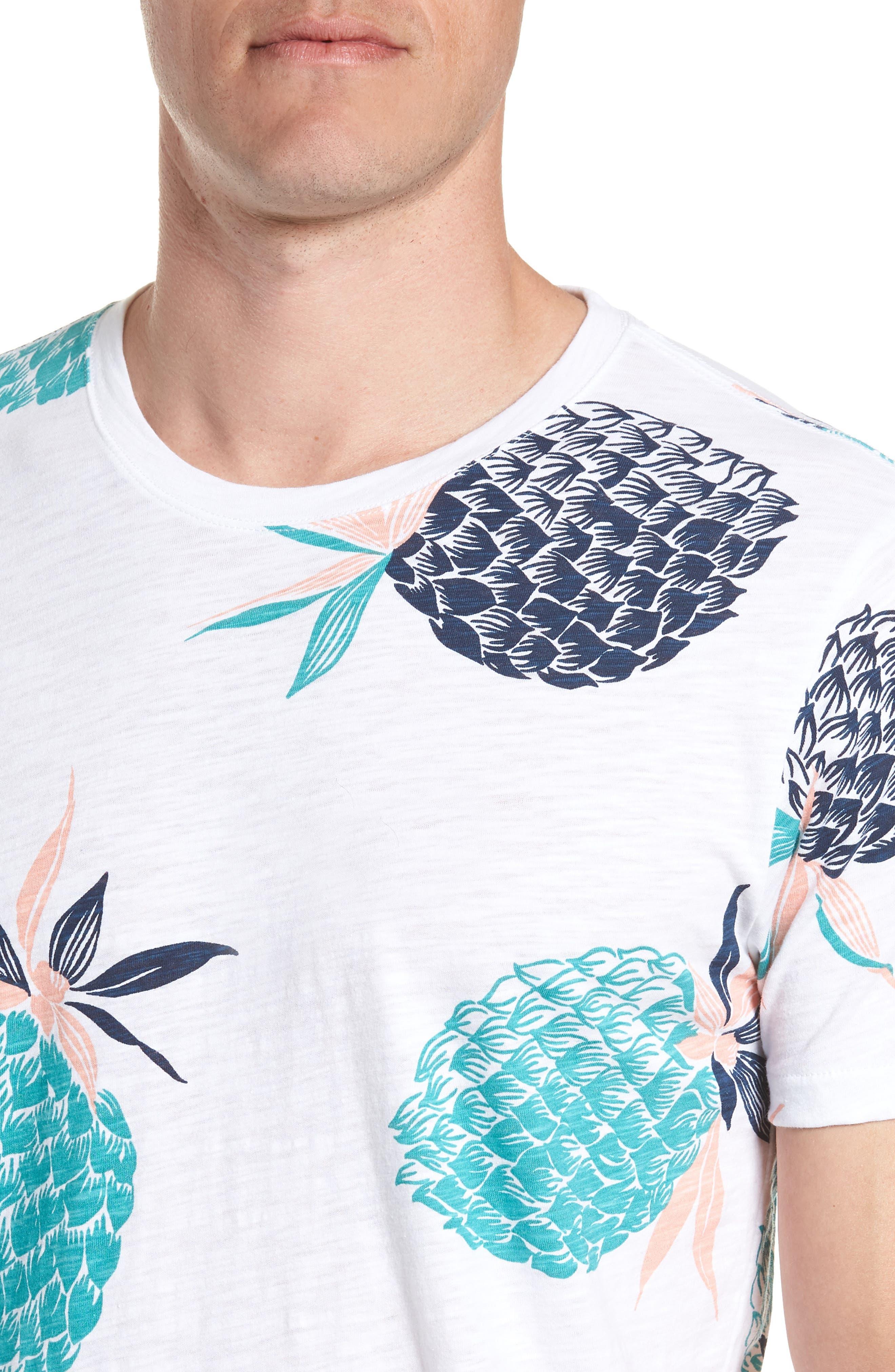 Pineapple Party Slim Fit T-Shirt,                             Alternate thumbnail 4, color,                             White/ Latigo Bay/ Sorbet