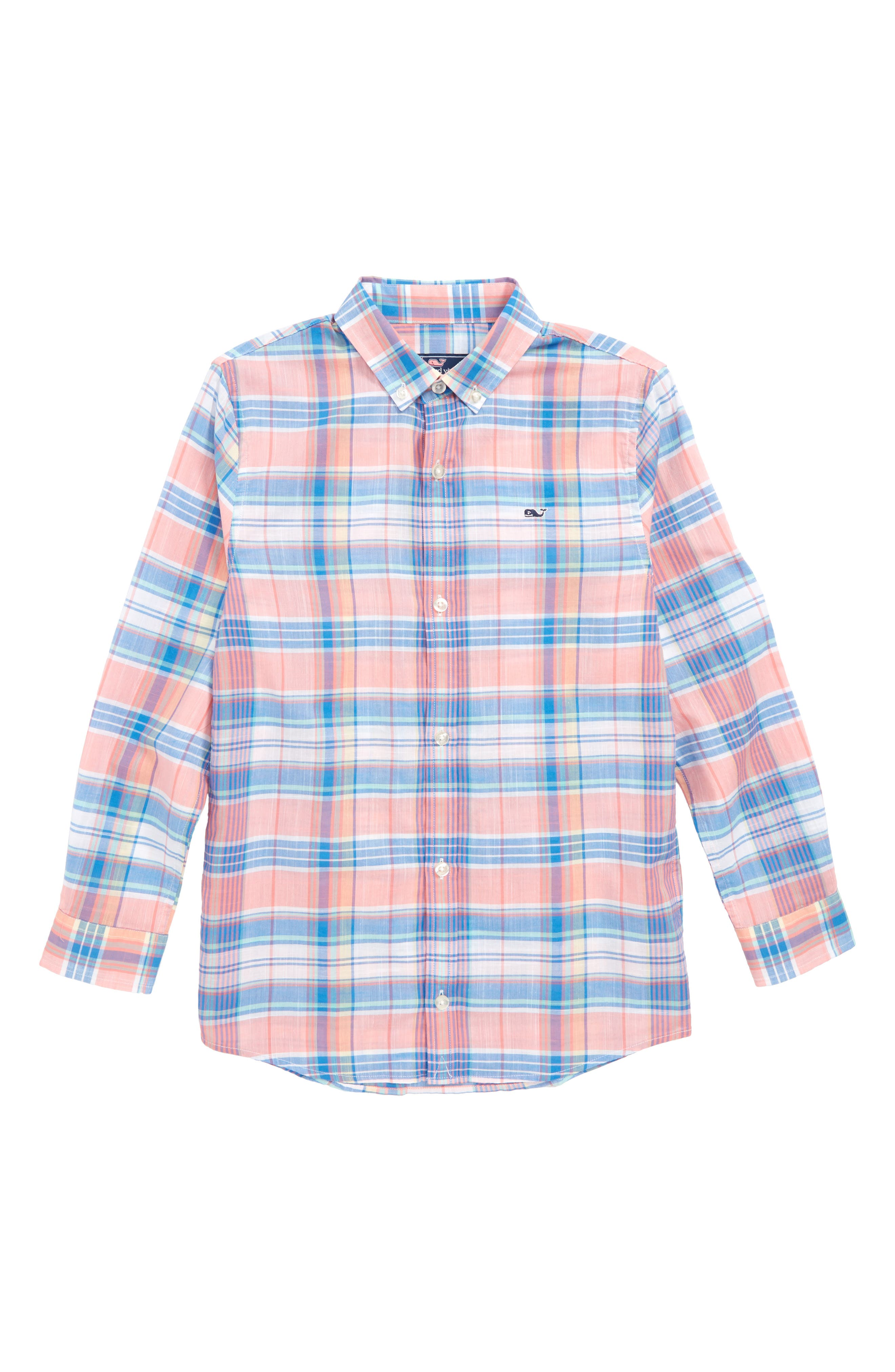 Smith Point Plaid Whale Shirt,                         Main,                         color, Washed Neon Pink