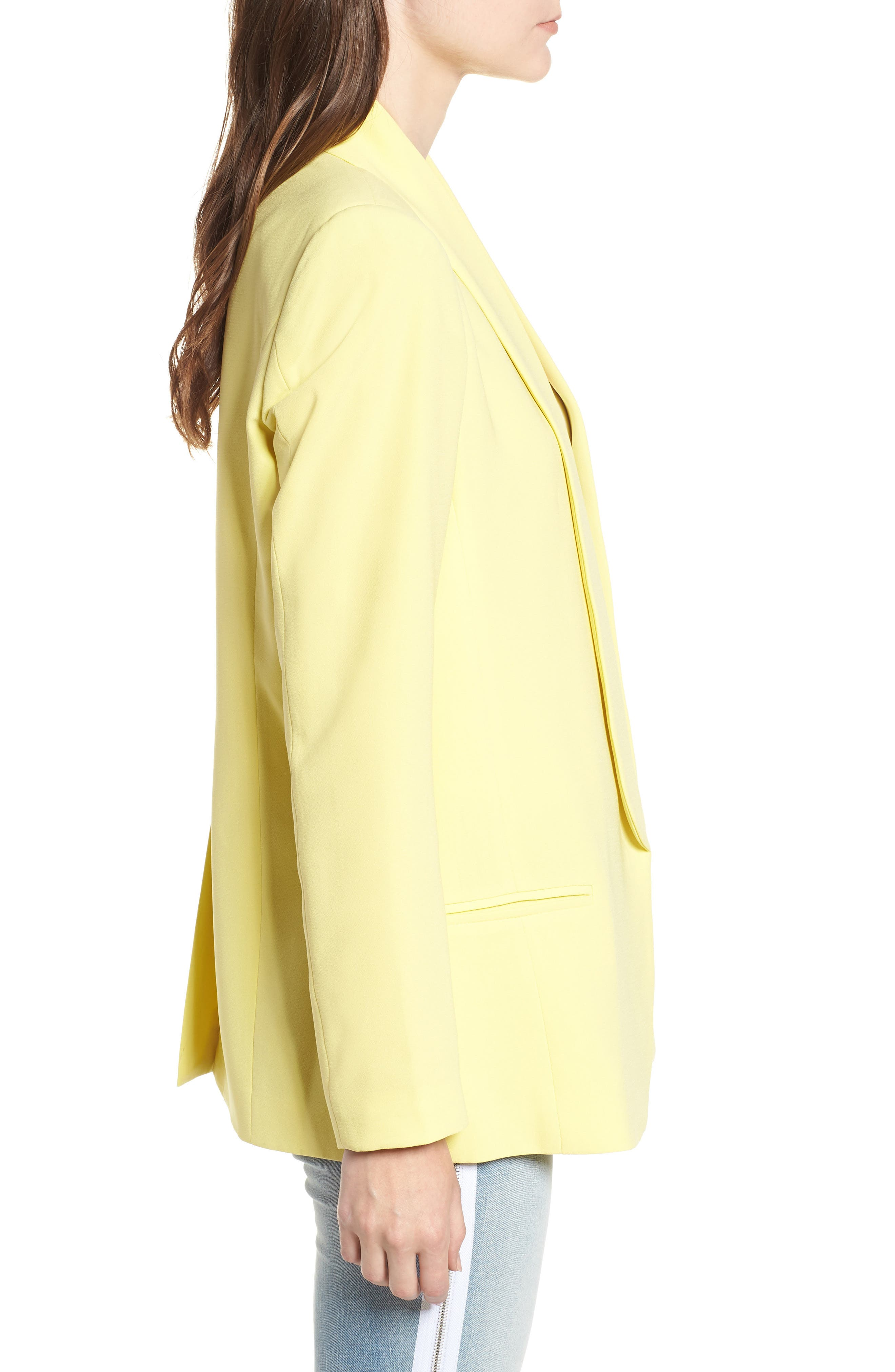 Slouchy Boyfriend Blazer,                             Alternate thumbnail 3, color,                             Yellow Canary