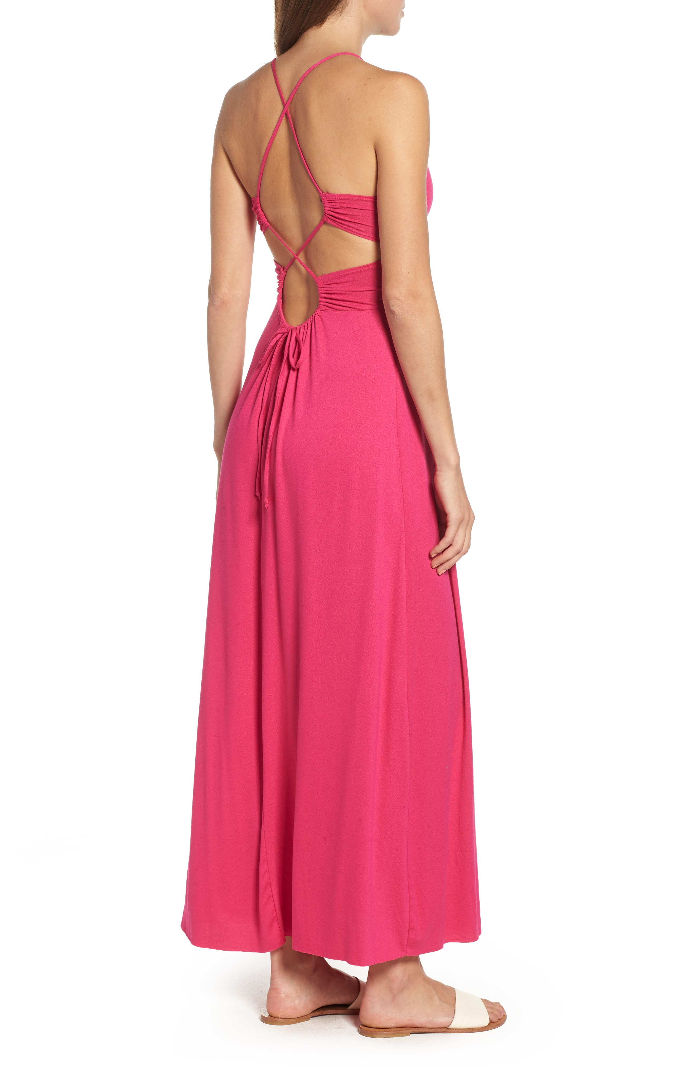 Strappy Back Maxi Dress,                             Alternate thumbnail 2, color,                             Wild Pink