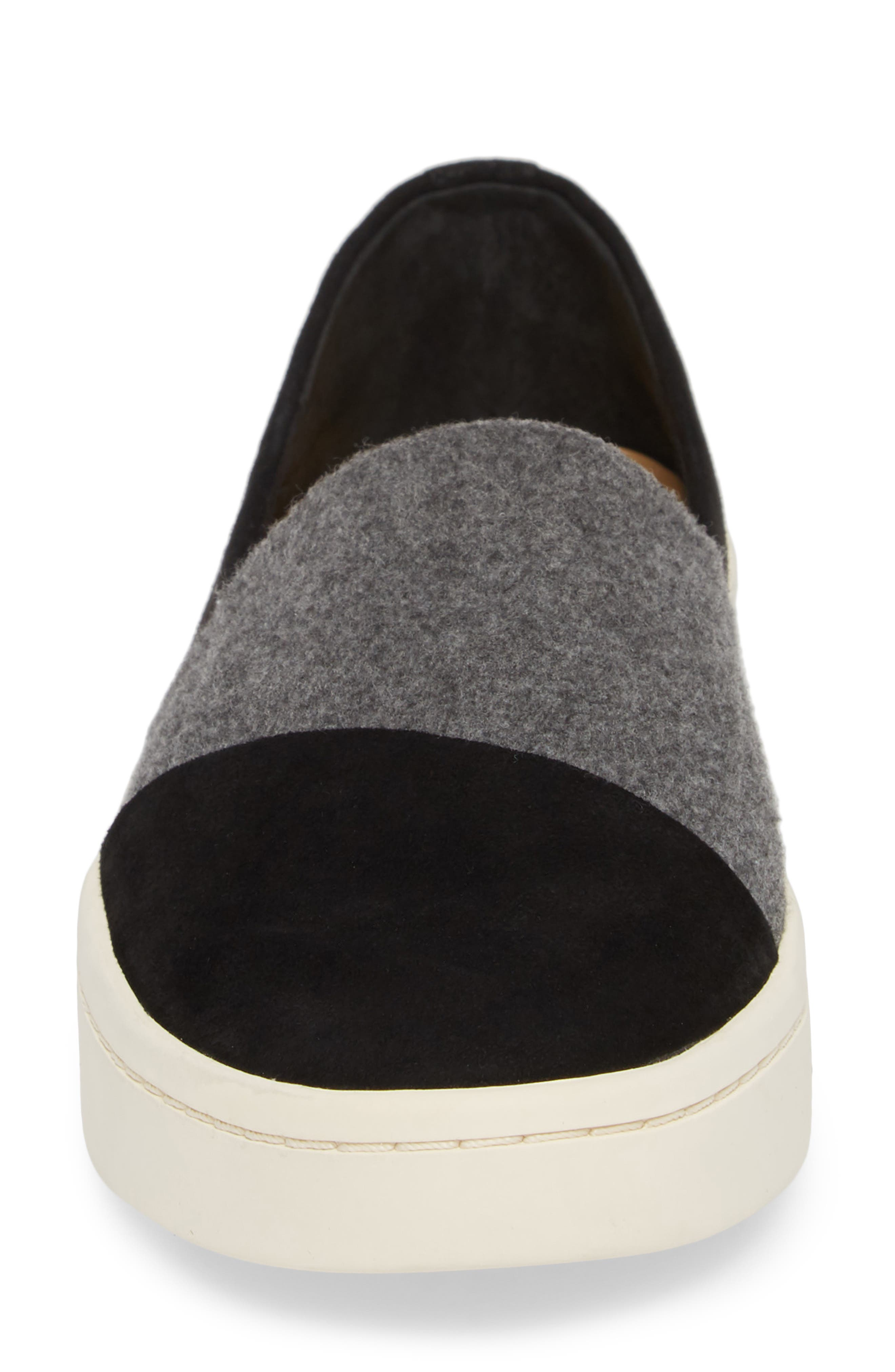 Nouvel Slip-On Sneaker,                             Alternate thumbnail 4, color,                             Black/ Grey Suede