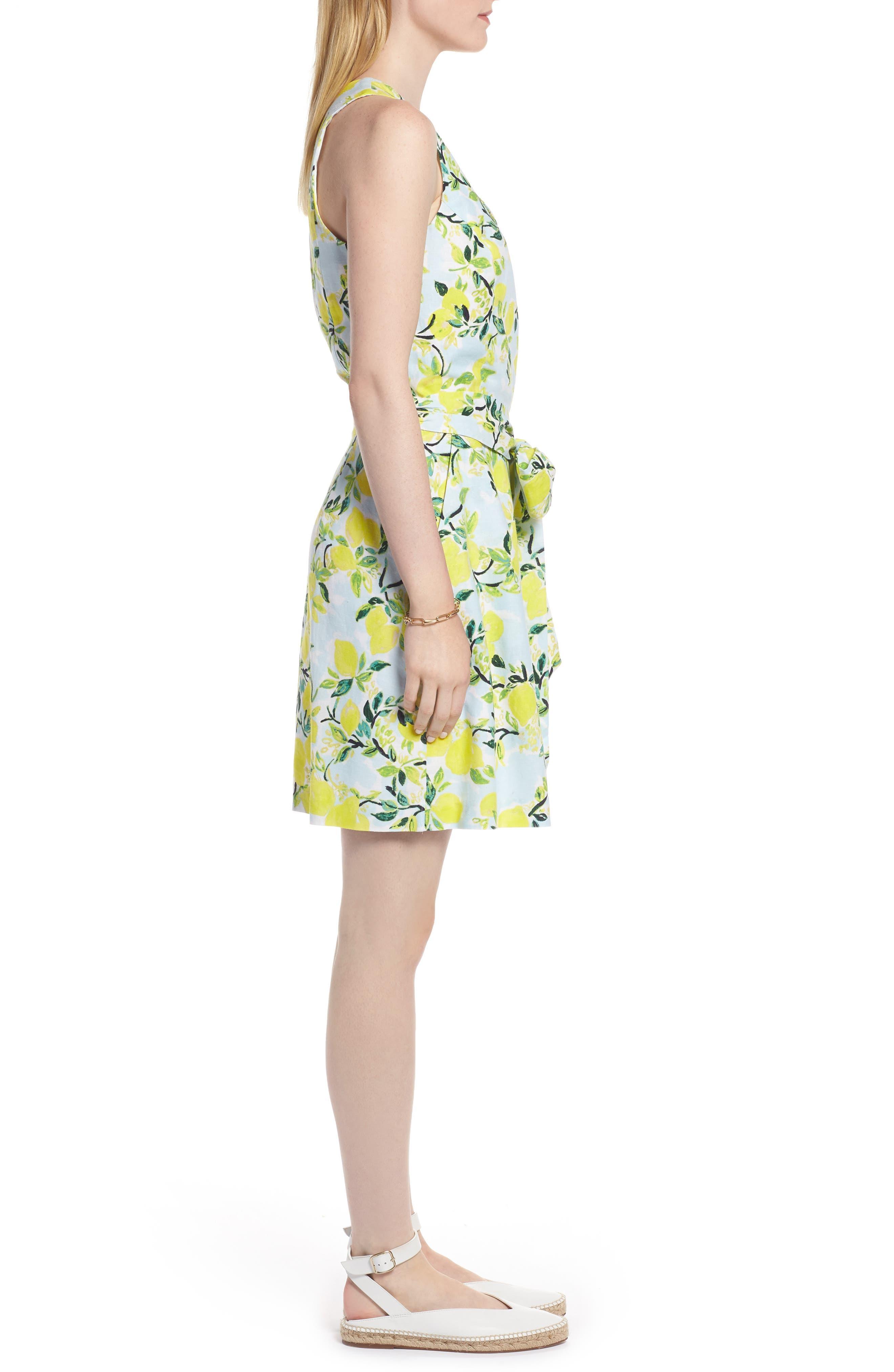 Tie Front Lemon Print Mini Dress,                             Alternate thumbnail 3, color,                             Blue- Yellow Citrus Print