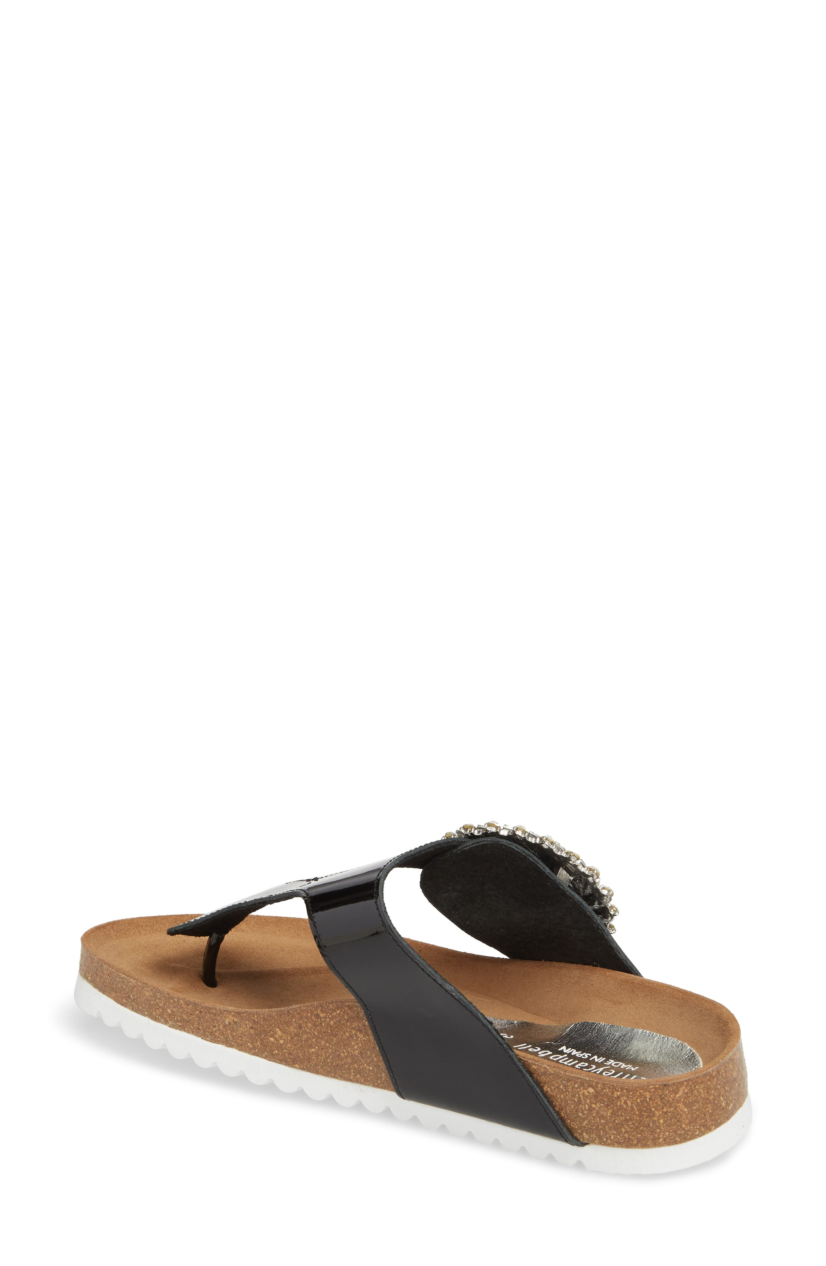 Madeira Embellished T-Strap Sandal,                             Alternate thumbnail 2, color,                             Black Patent/ Black Silver