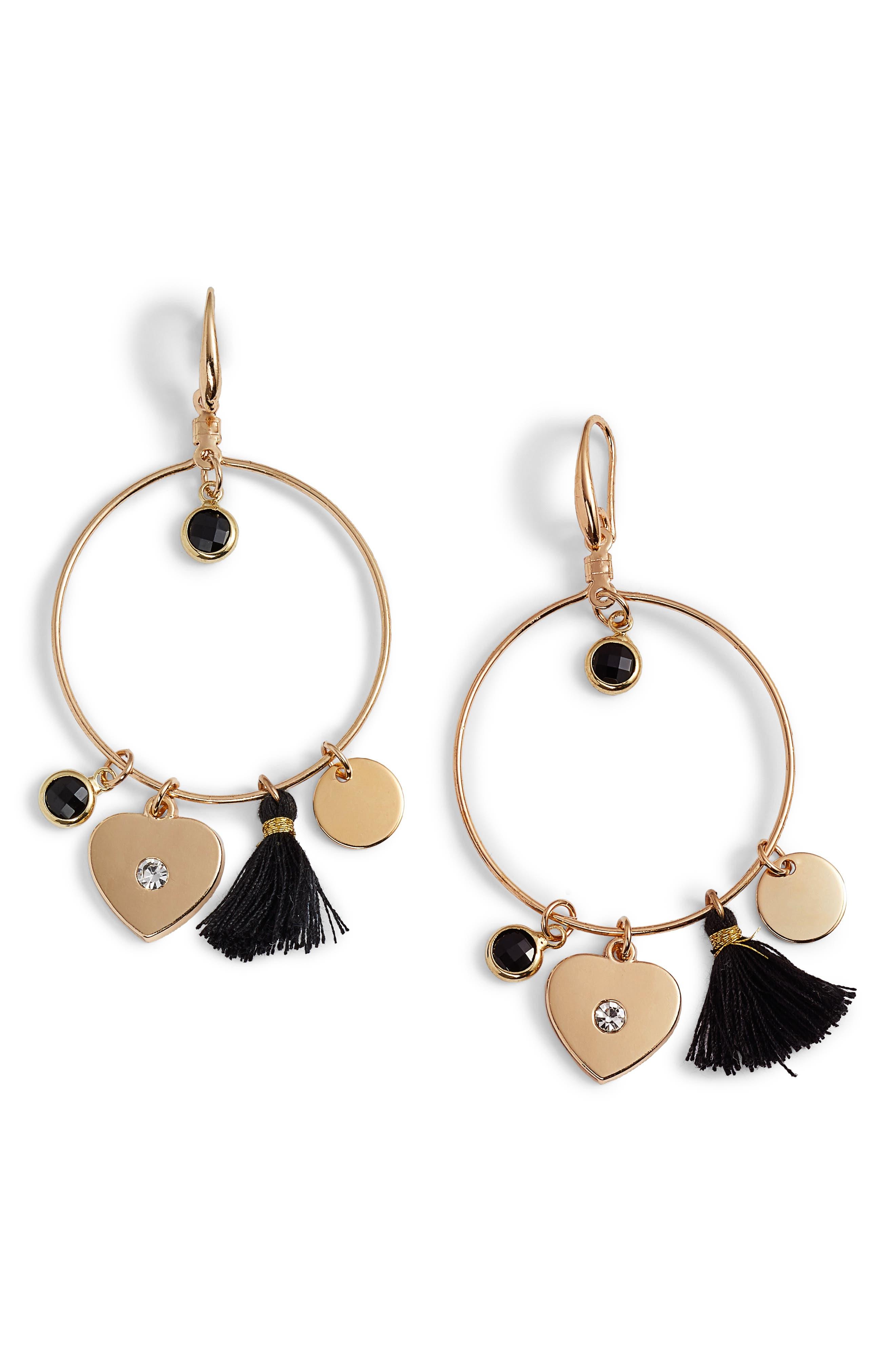 Samantha Tassel & Charm Hoop Earrings,                             Main thumbnail 1, color,                             Gold
