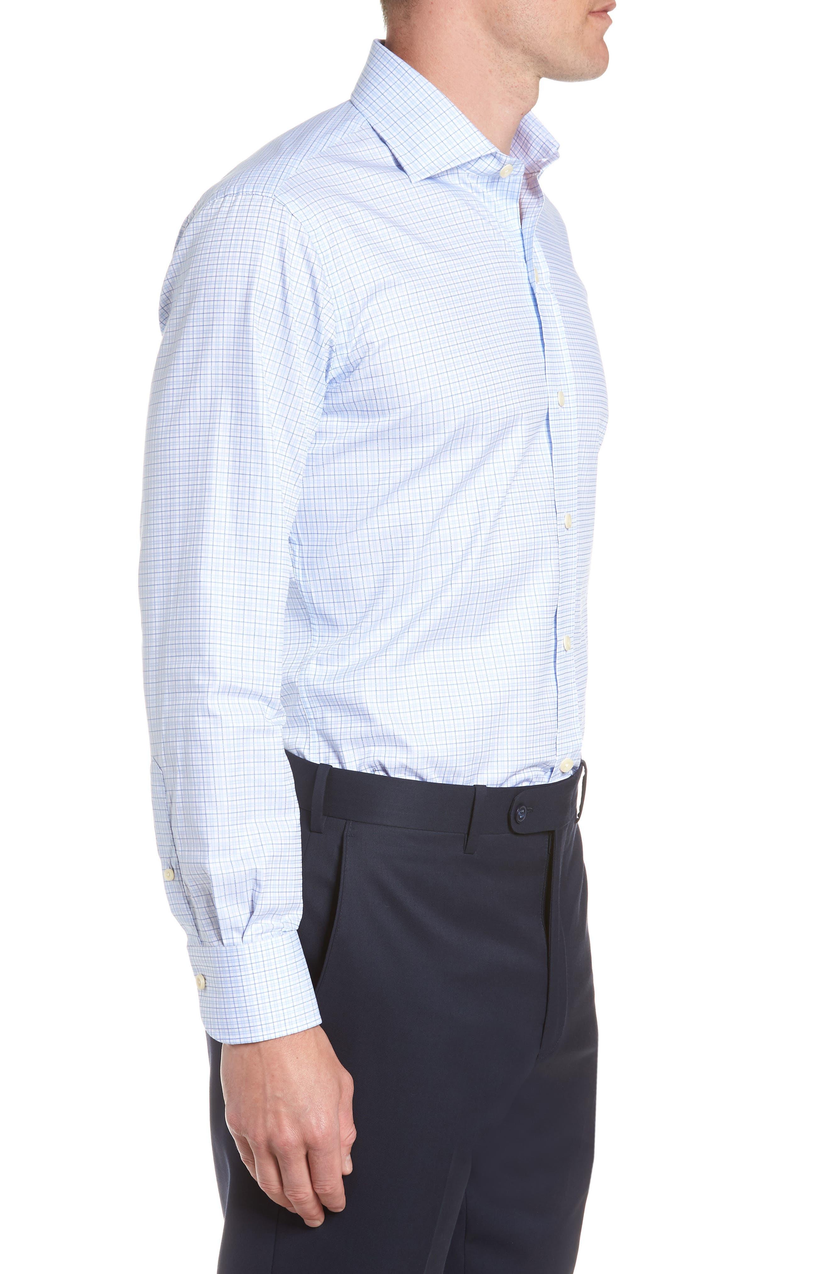 Moorland Trim Fit Check Dress Shirt,                             Alternate thumbnail 4, color,                             Blue