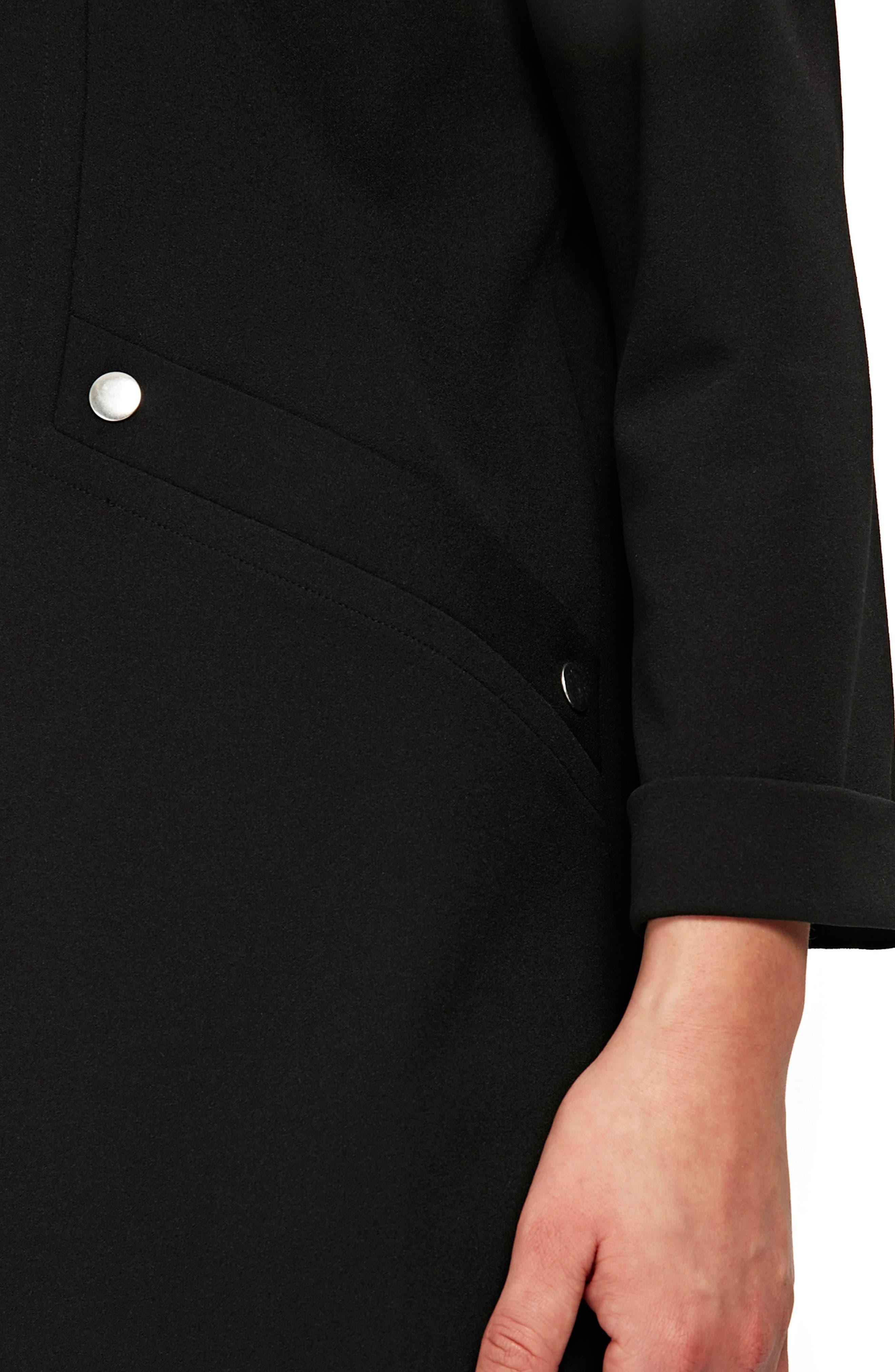 Popper Pocket Duster Jacket,                             Alternate thumbnail 3, color,                             Black
